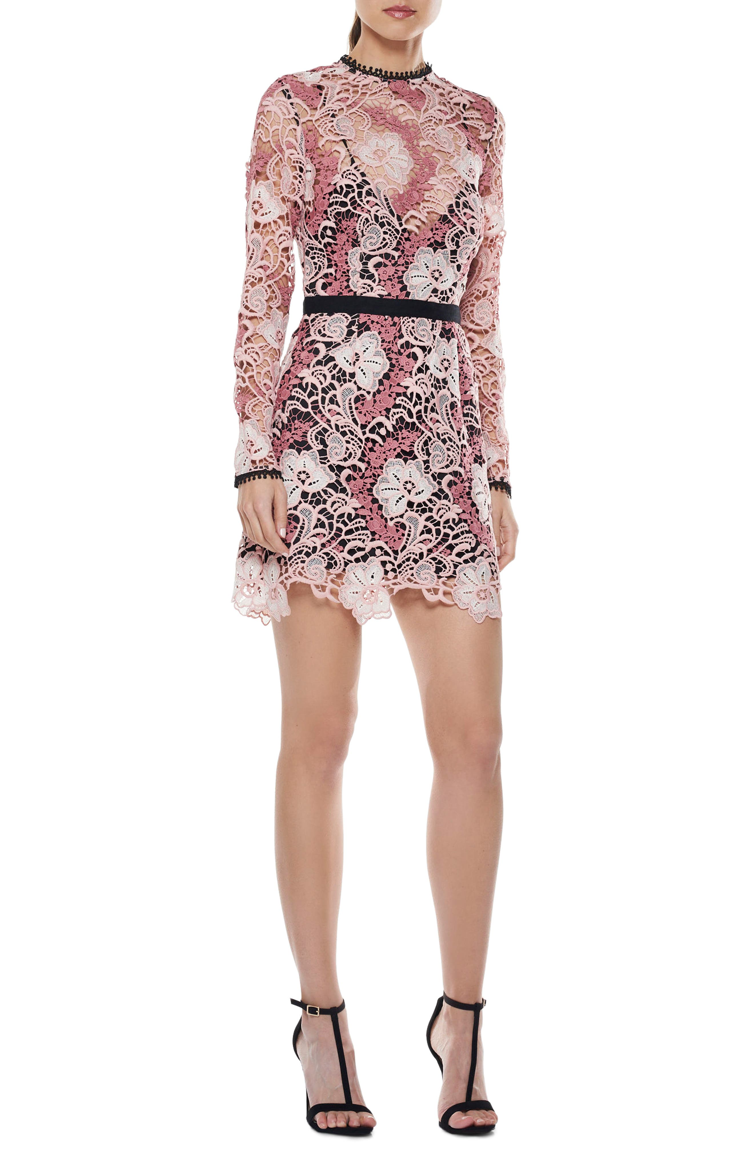 The Passion Lace Minidress,                         Main,                         color, Multi-Pink