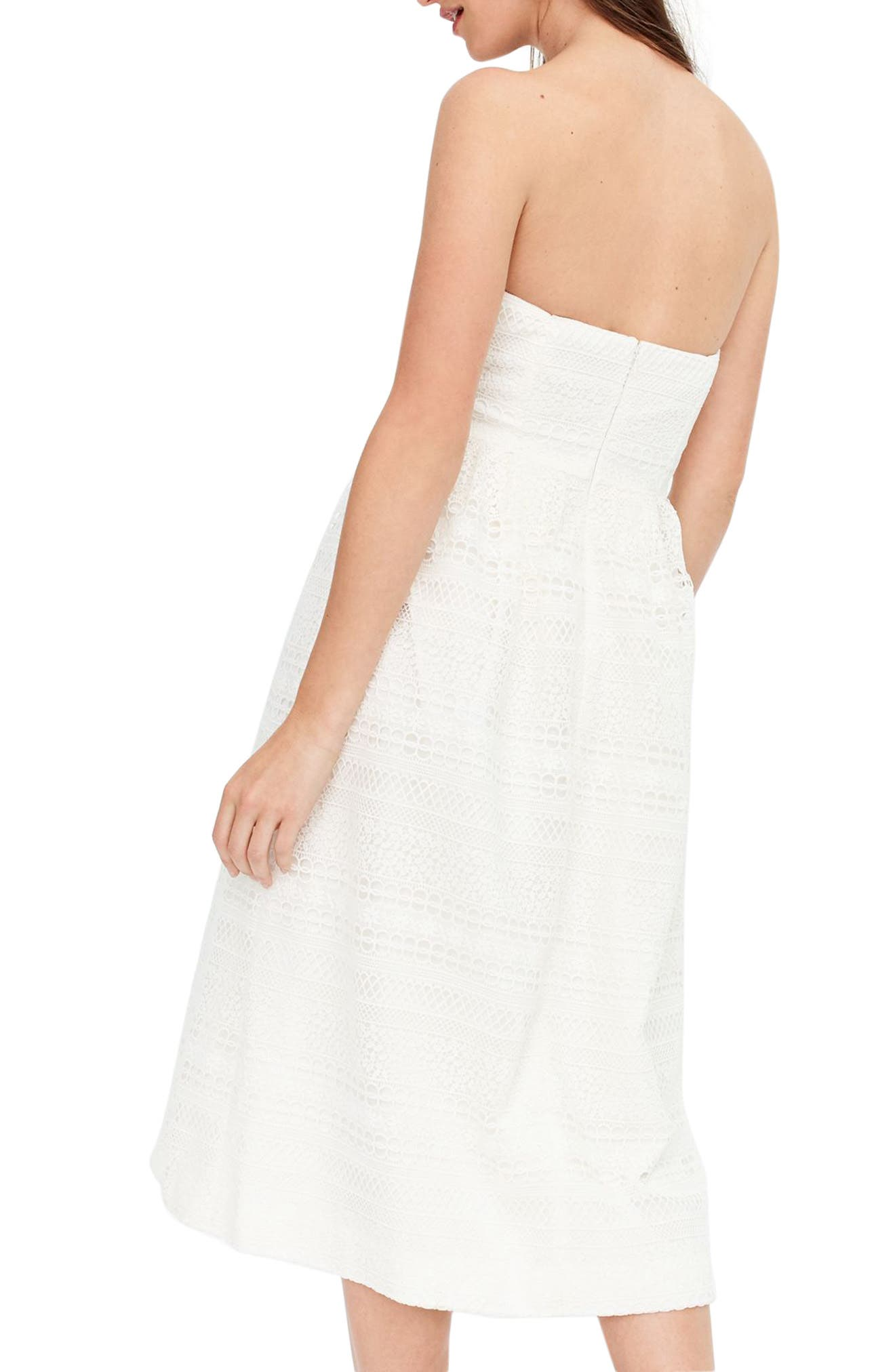 J.Crew Strapless Lace Dress,                             Alternate thumbnail 3, color,                             Ivory