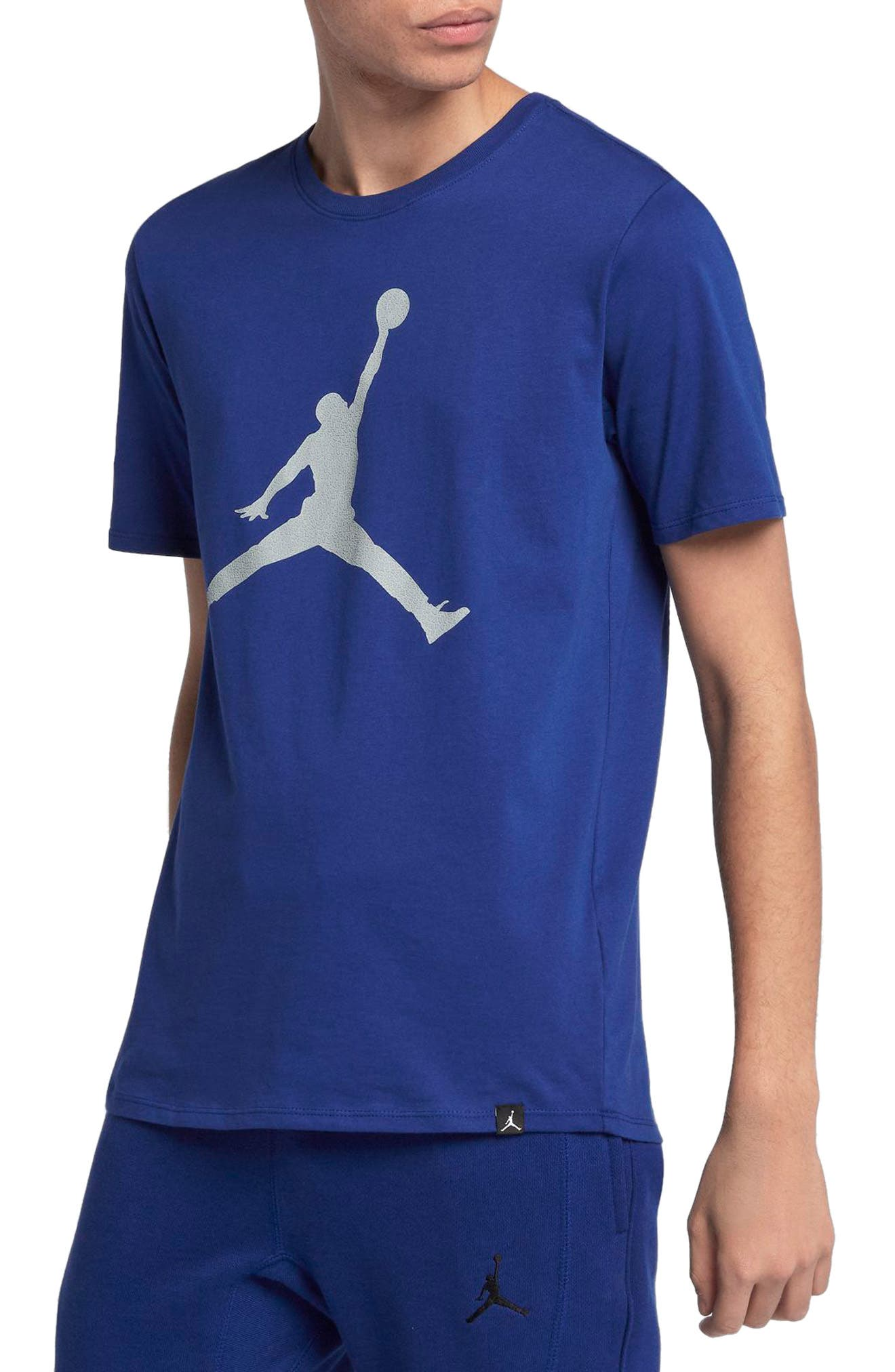 Sportswear Iconic Jumpman T-Shirt,                             Main thumbnail 1, color,                             Deep Royal Blue/ Wolf Grey