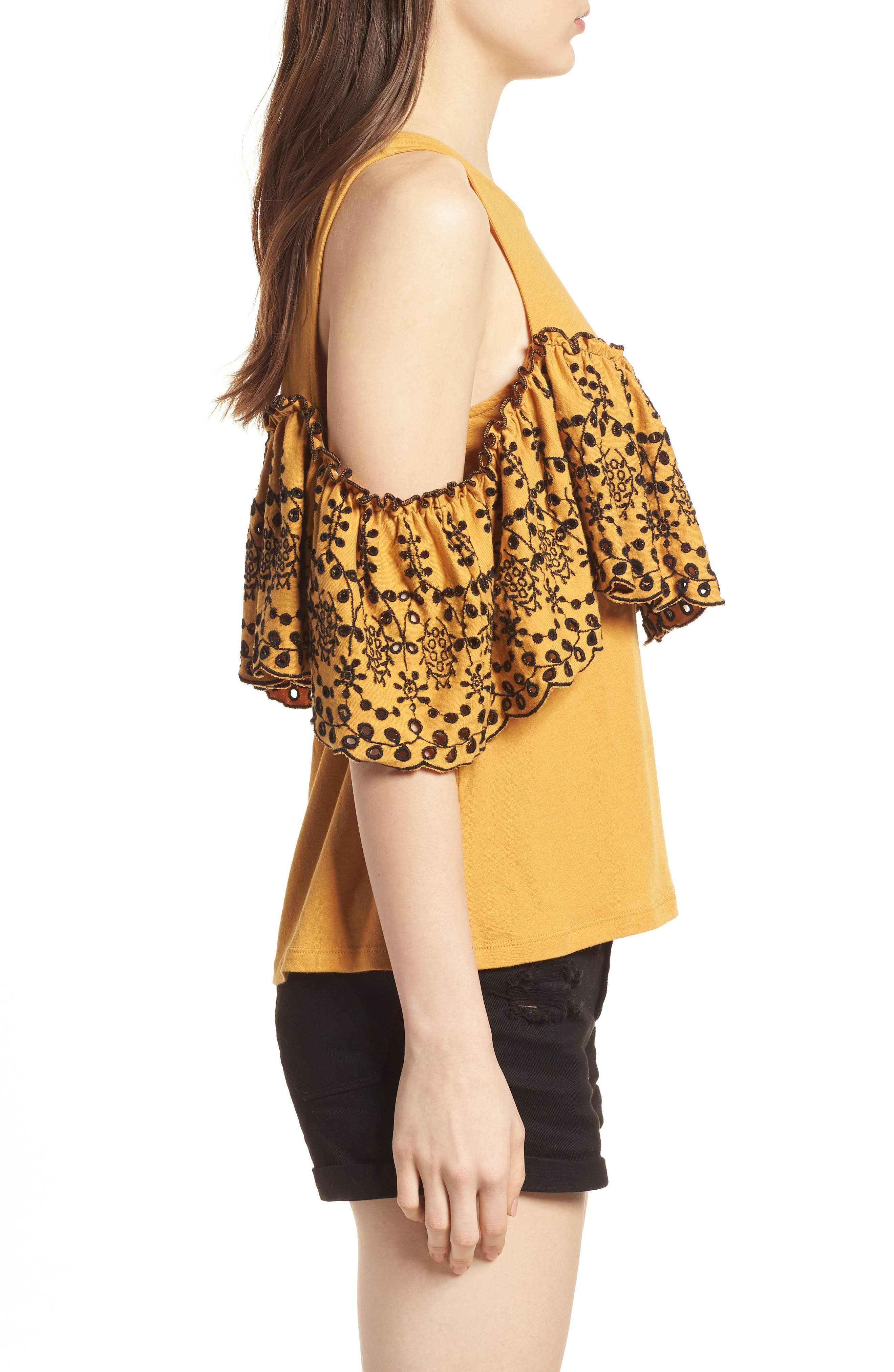 Eyelet Ruffle Cold Shoulder Top,                             Alternate thumbnail 3, color,                             Yellow Spruce