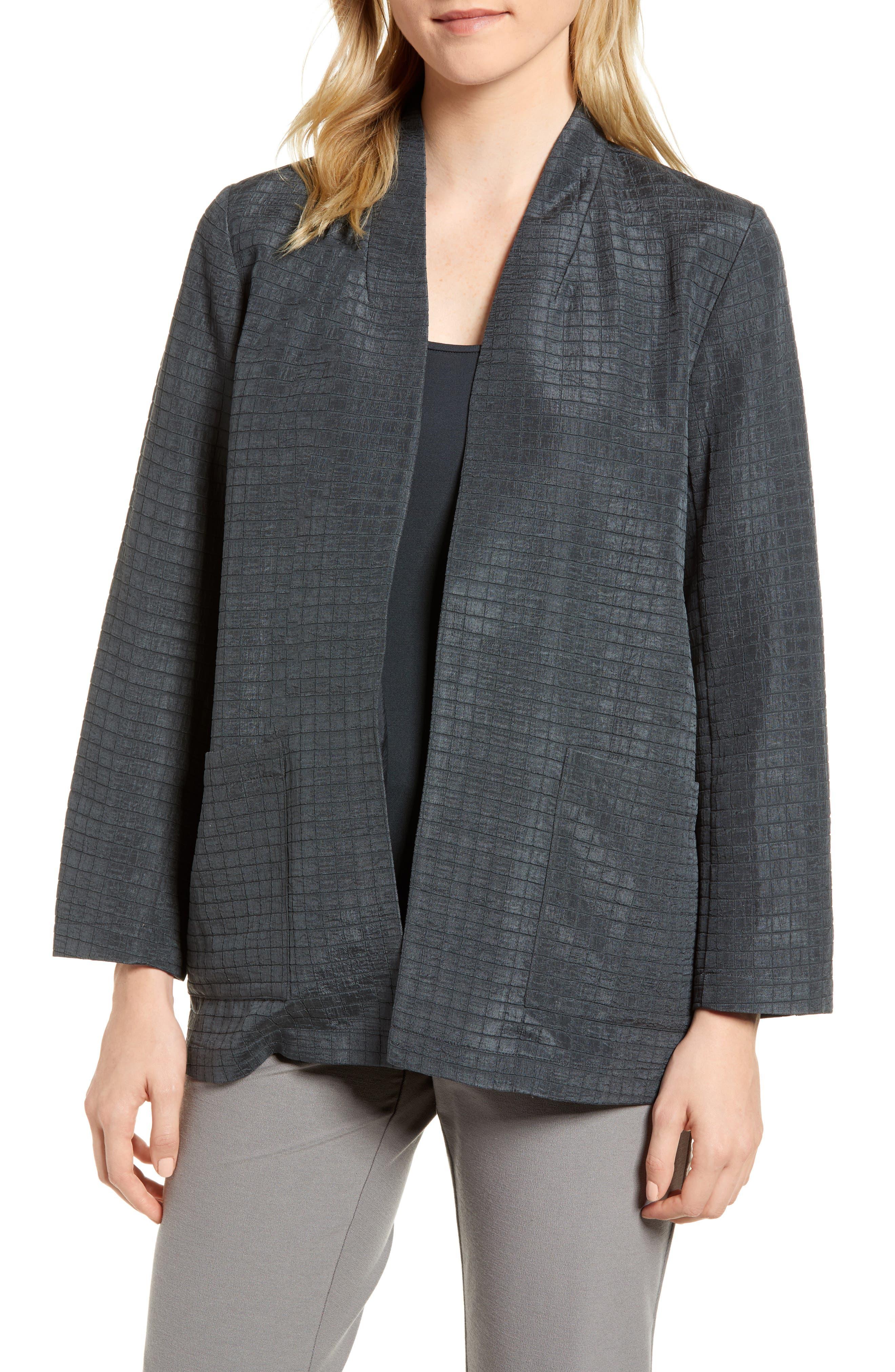 Silk Blend Kimono Jacket,                             Main thumbnail 1, color,                             Graphite