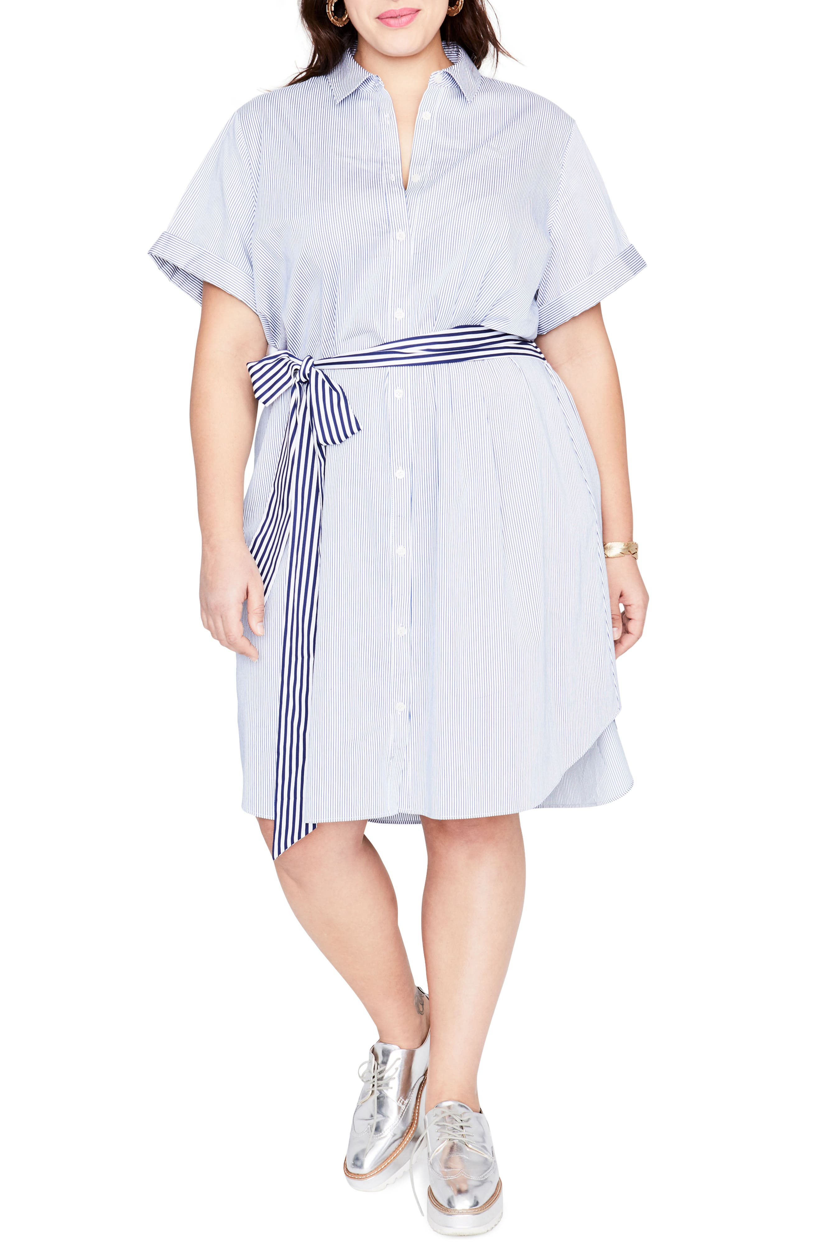 Obi Belt Stripe Shirtdress,                         Main,                         color, Blue White Combo