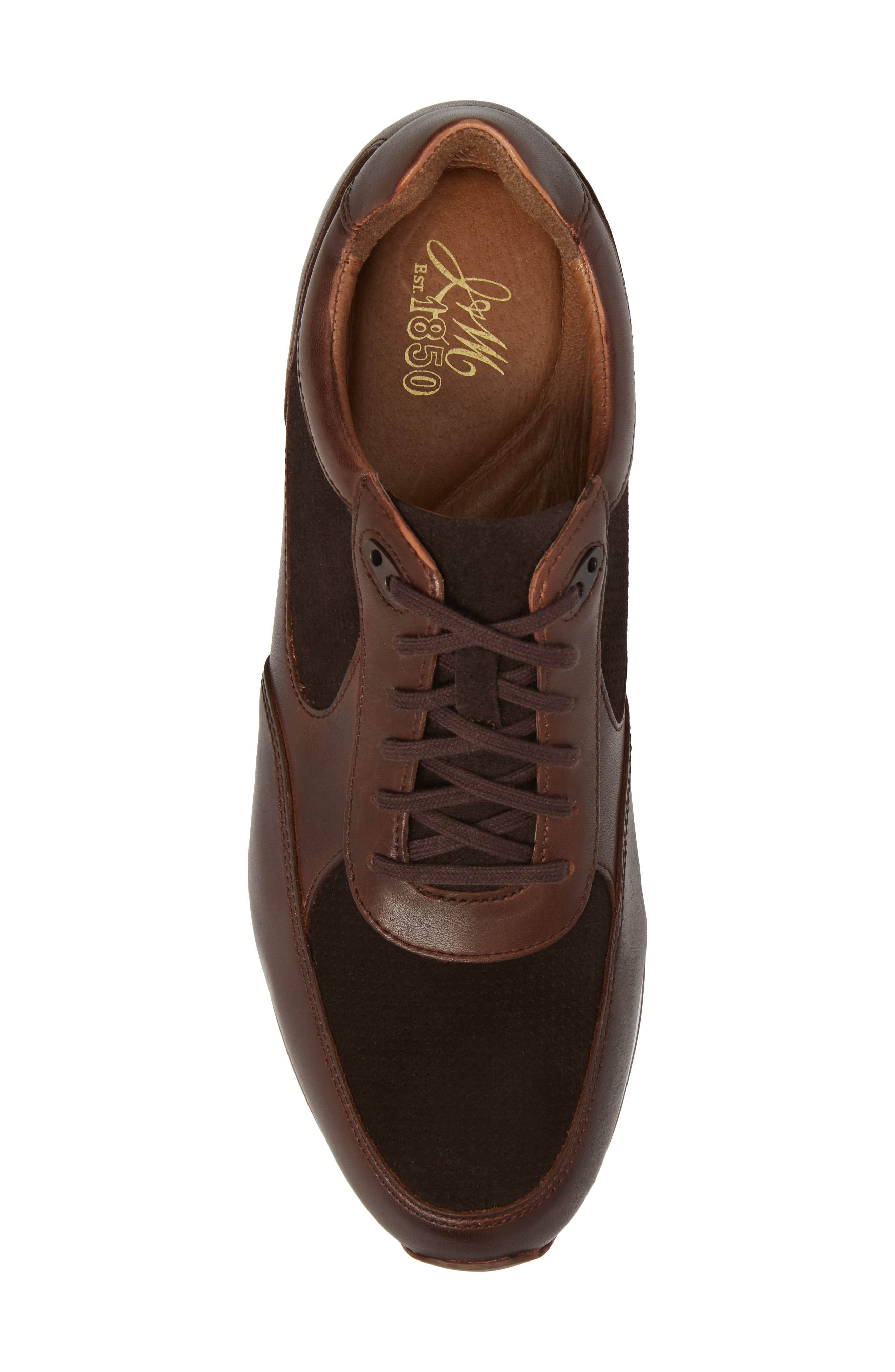 Malek Low Top Sneaker,                             Alternate thumbnail 5, color,                             Mahogany Leather/ Suede