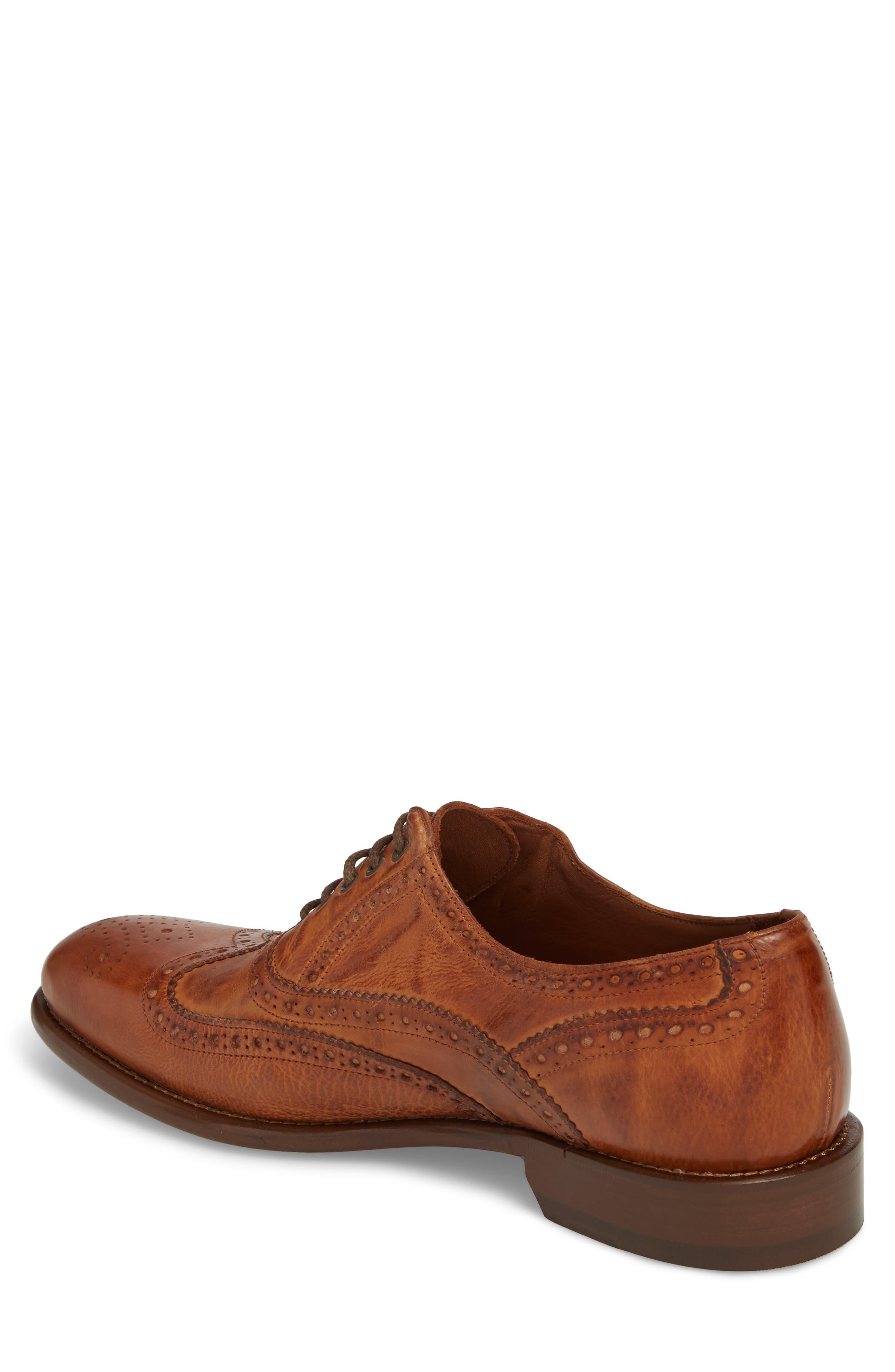 Bryson Wingtip Oxford,                             Alternate thumbnail 2, color,                             Cognac Leather