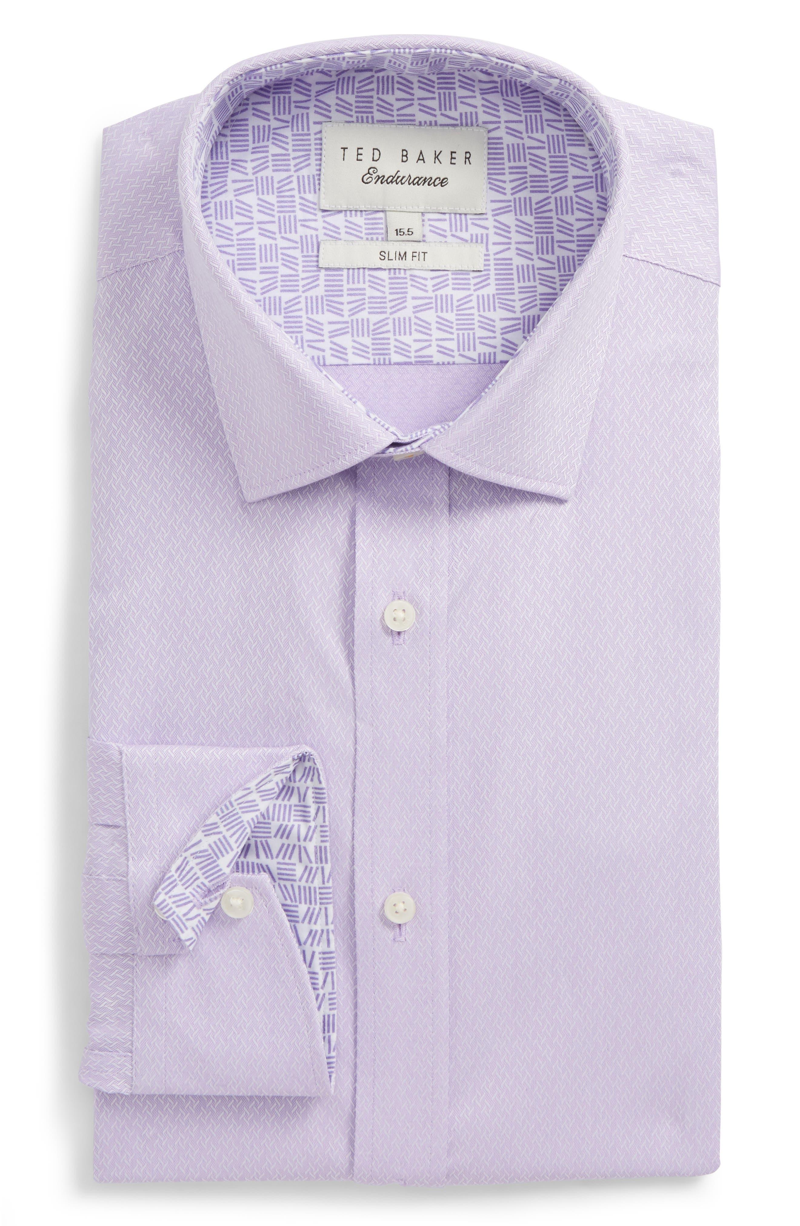 Endurance Driss Trim Fit Geometric Oxford Dress Shirt,                         Main,                         color, Lilac