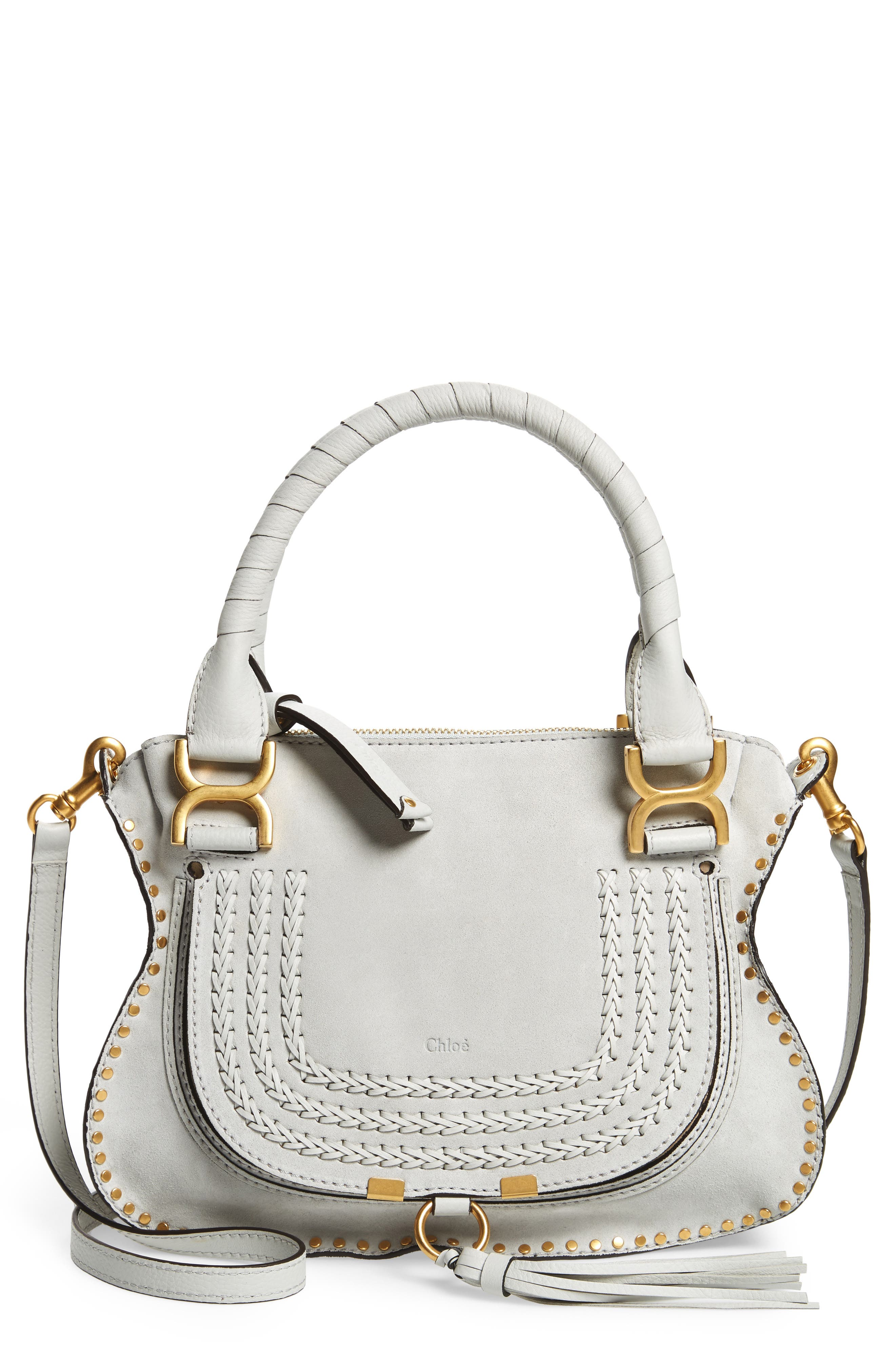 Small Marcie Suede Satchel,                         Main,                         color, Airy Grey