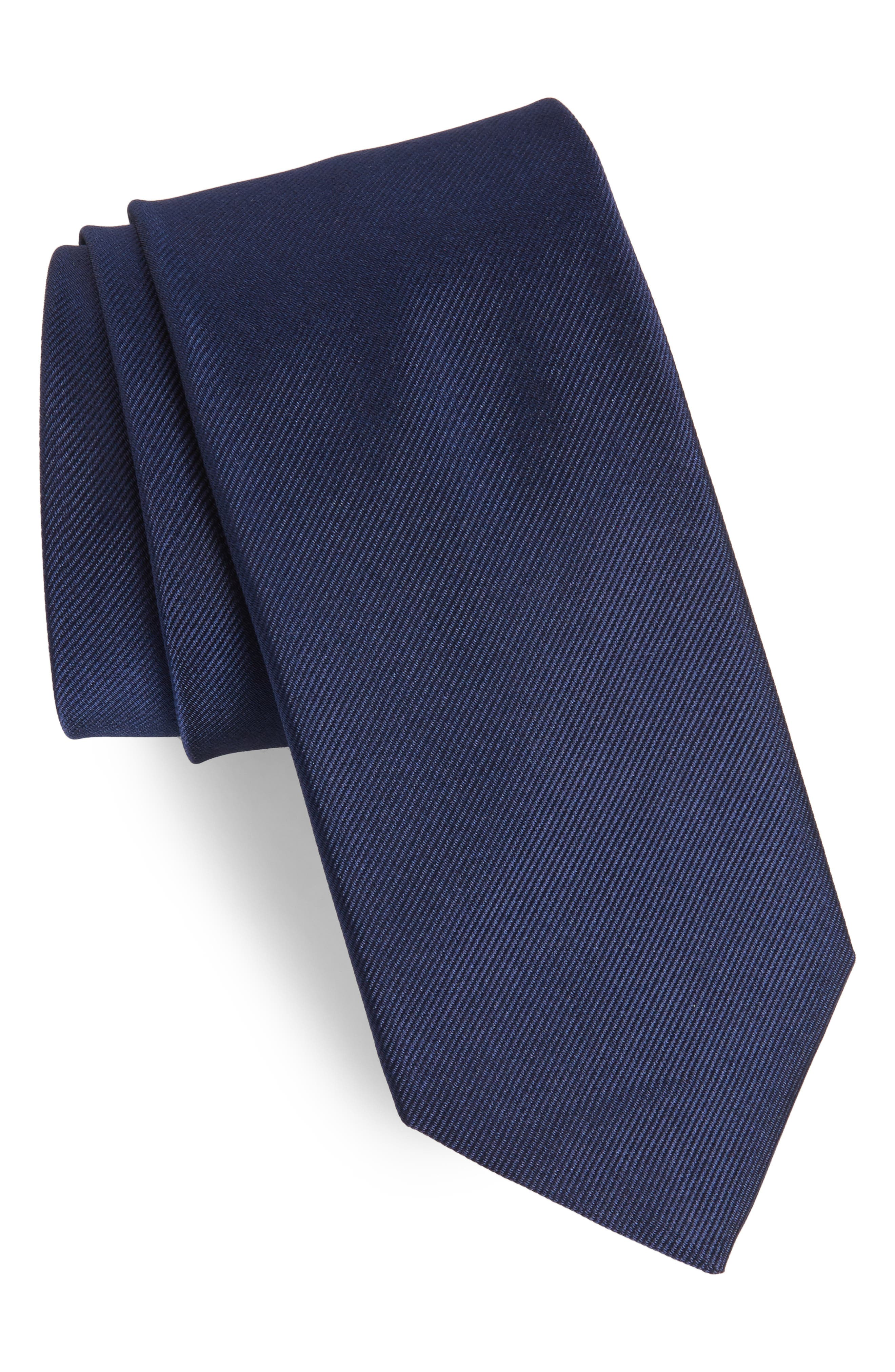Solid Silk Tie,                             Main thumbnail 1, color,                             Officer Navy
