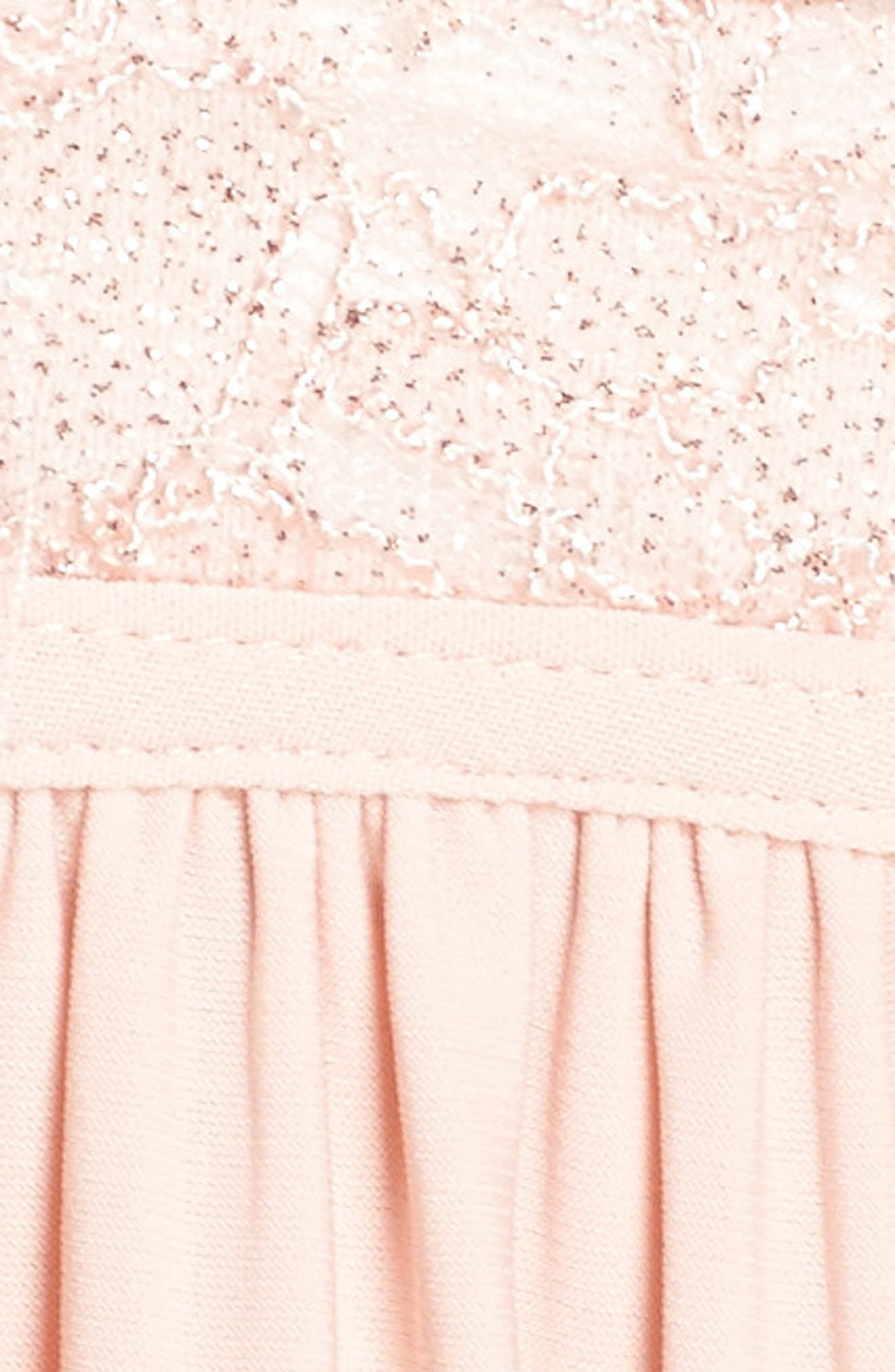 Lace Bodice Keyhole Gown,                             Alternate thumbnail 6, color,                             Blush/ Ivory