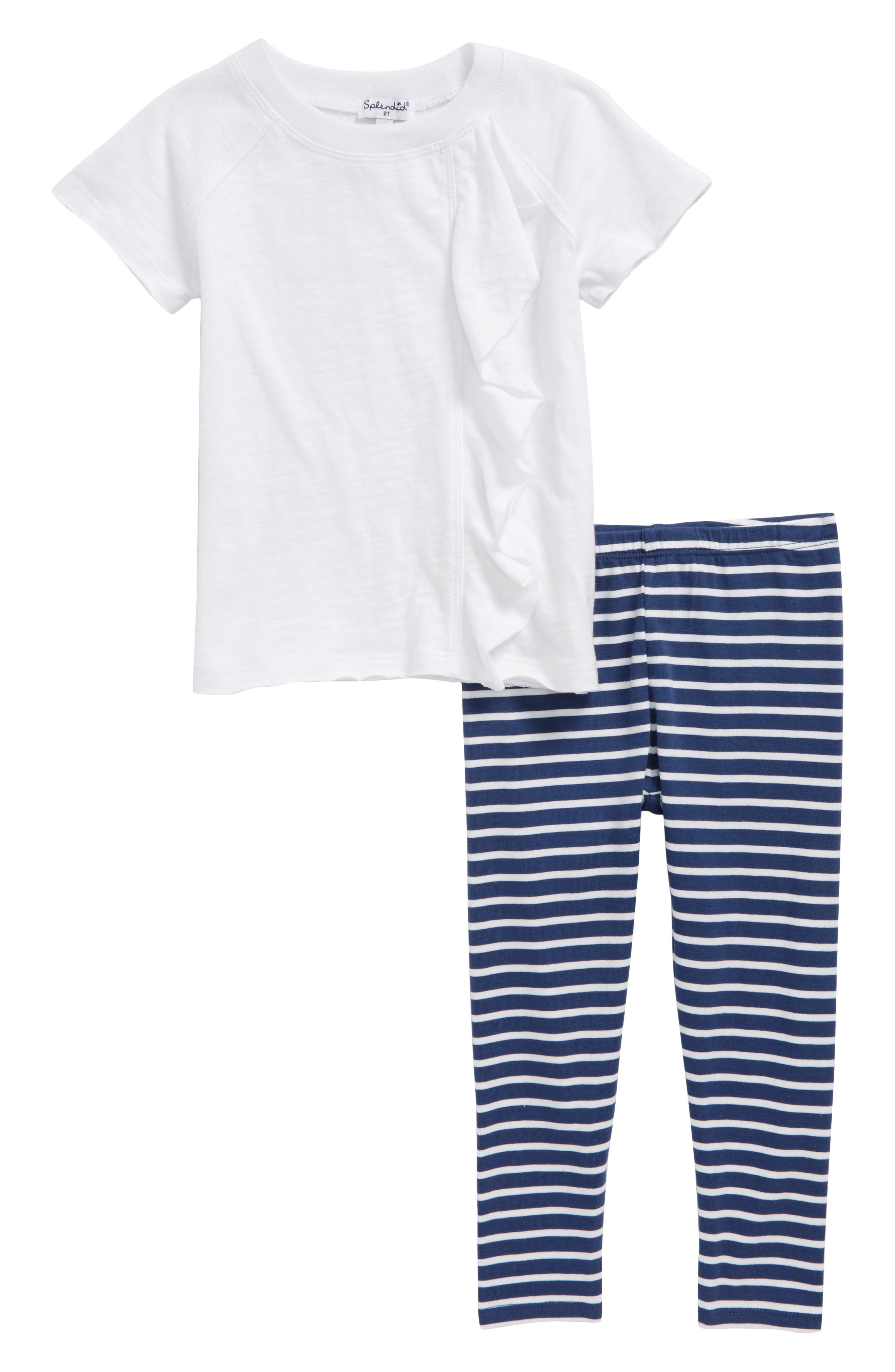 Ruffle Top & Stripe Leggings Set,                             Main thumbnail 1, color,                             Optic White