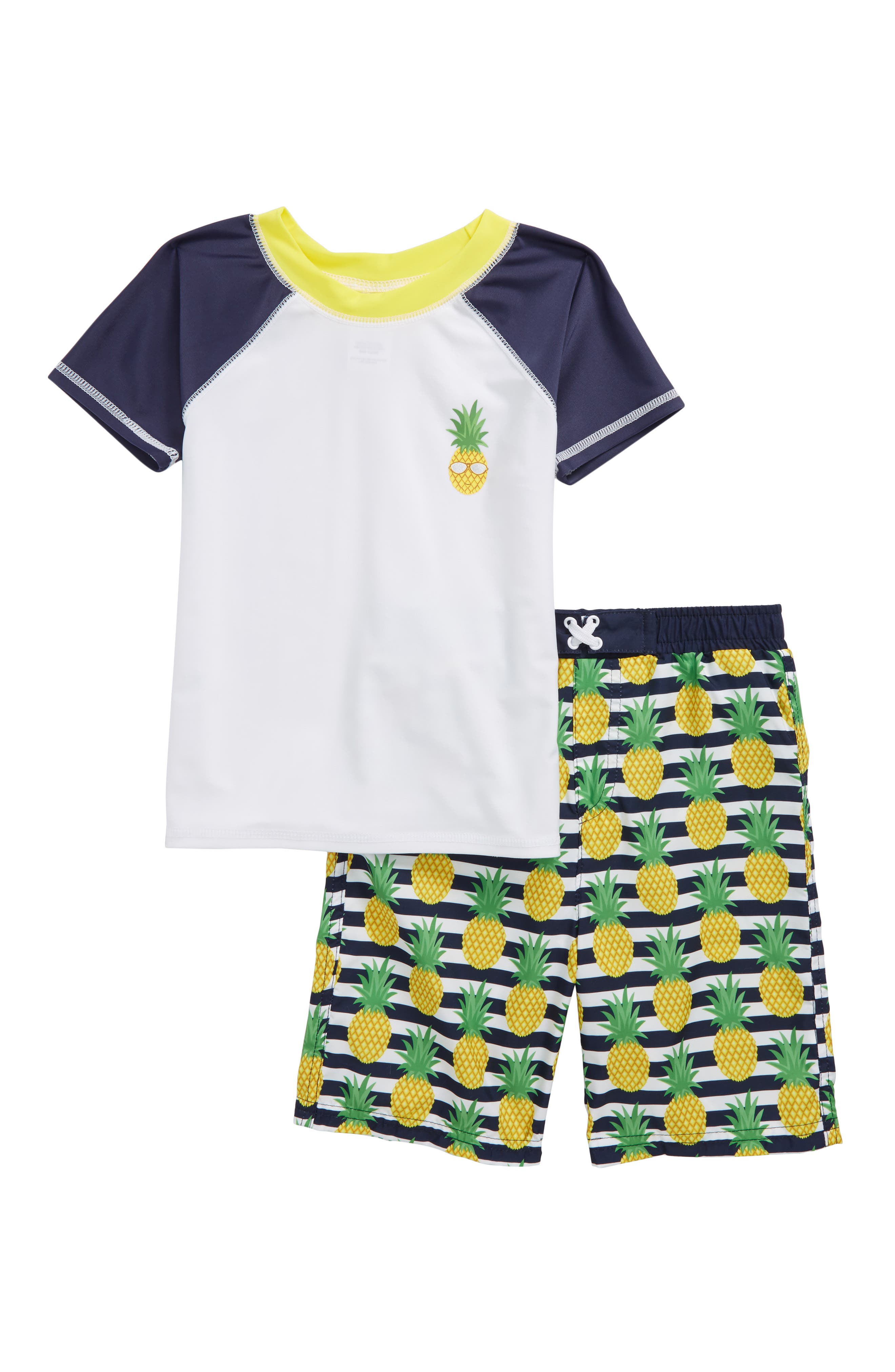 Alternate Image 1 Selected - Sol Swim Two-Piece Rashguard Swimsuit (Toddler Boys & Little Boys)