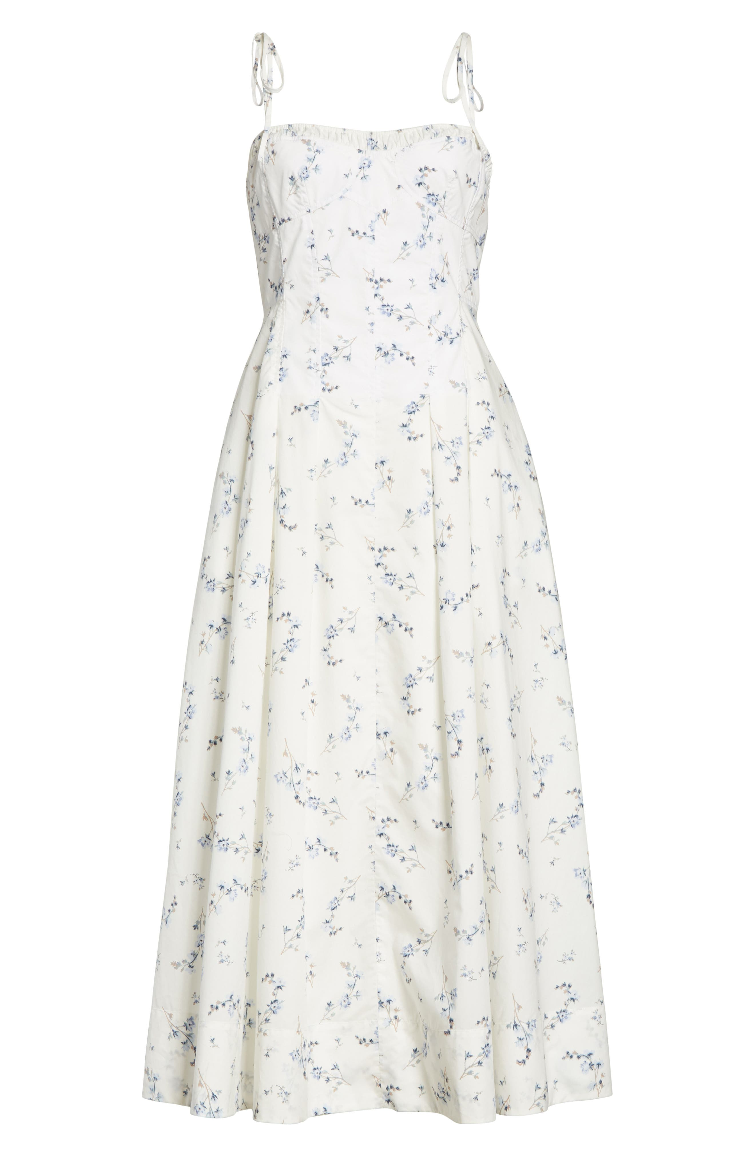 Francine Floral Cotton Poplin Dress,                             Alternate thumbnail 6, color,                             Snow Combo