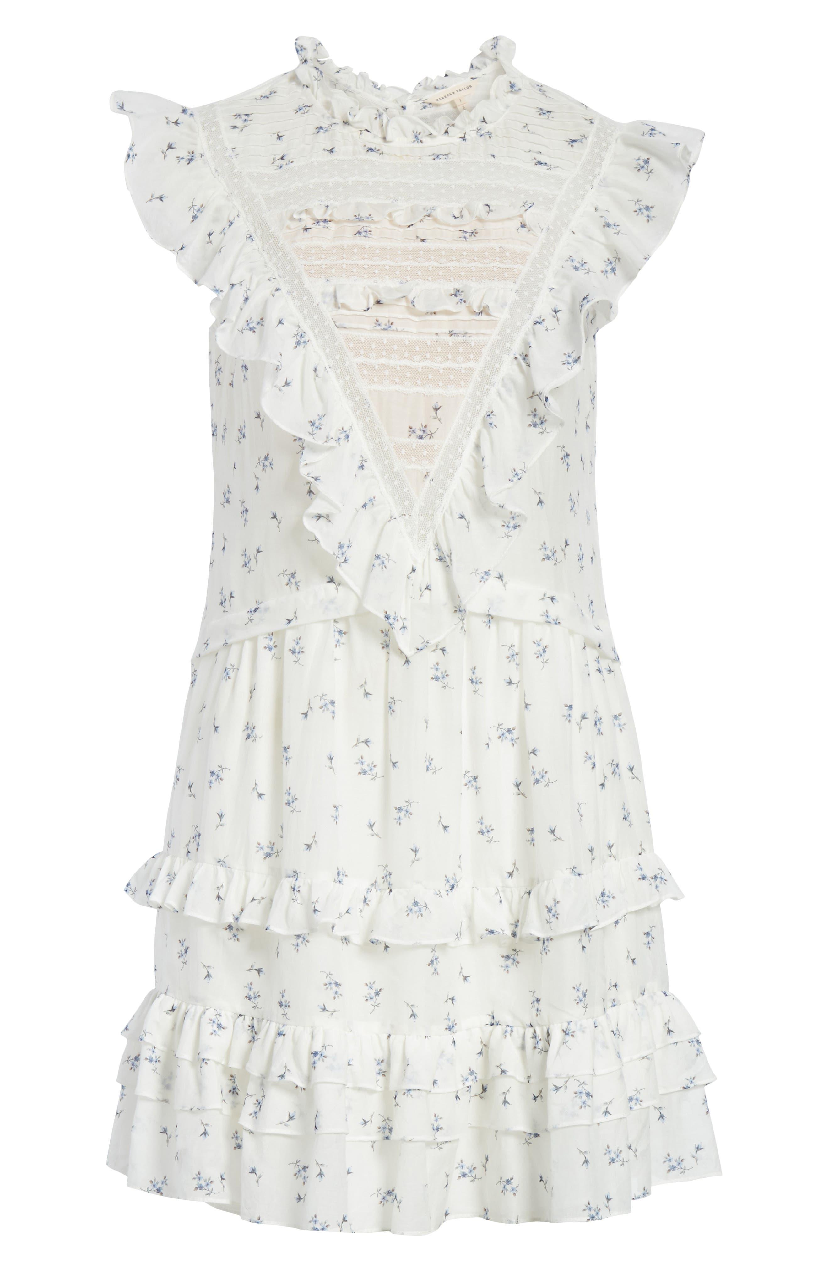 Floral Spring A-Line Dress,                             Alternate thumbnail 6, color,                             Snow Combo
