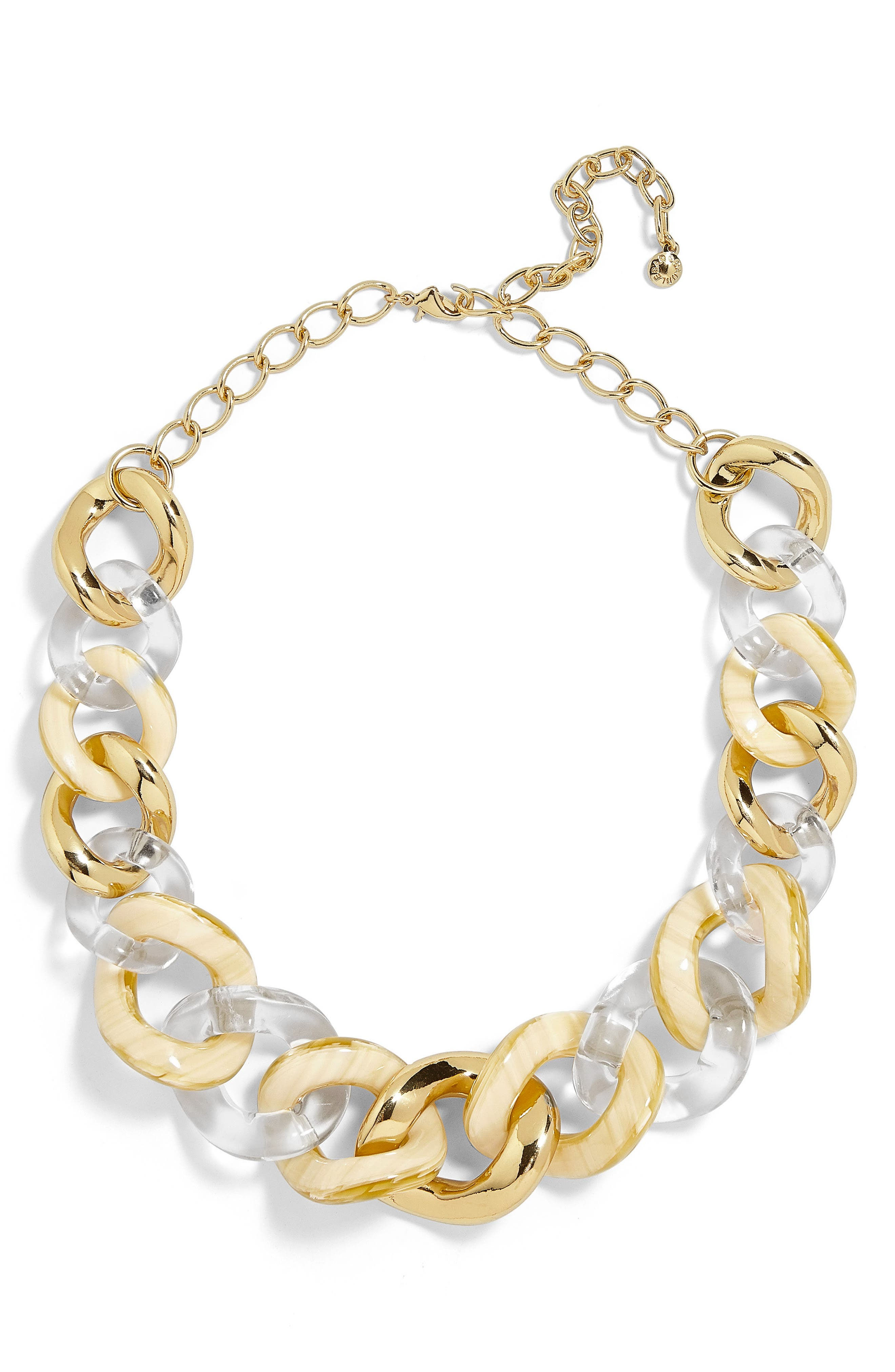 Fabia Mixed Media Link Necklace,                         Main,                         color, Clear/ Ivory