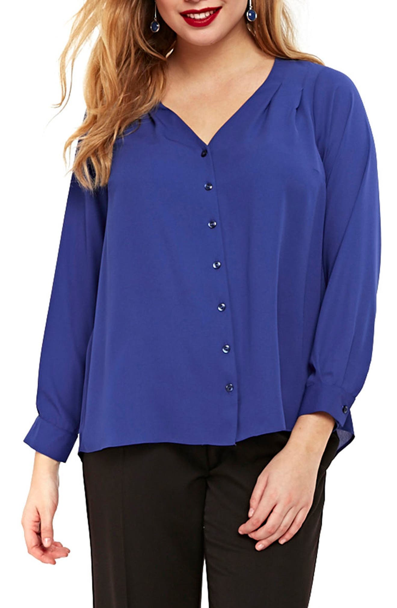 Wrap Back Shirt,                         Main,                         color, Muted Blue