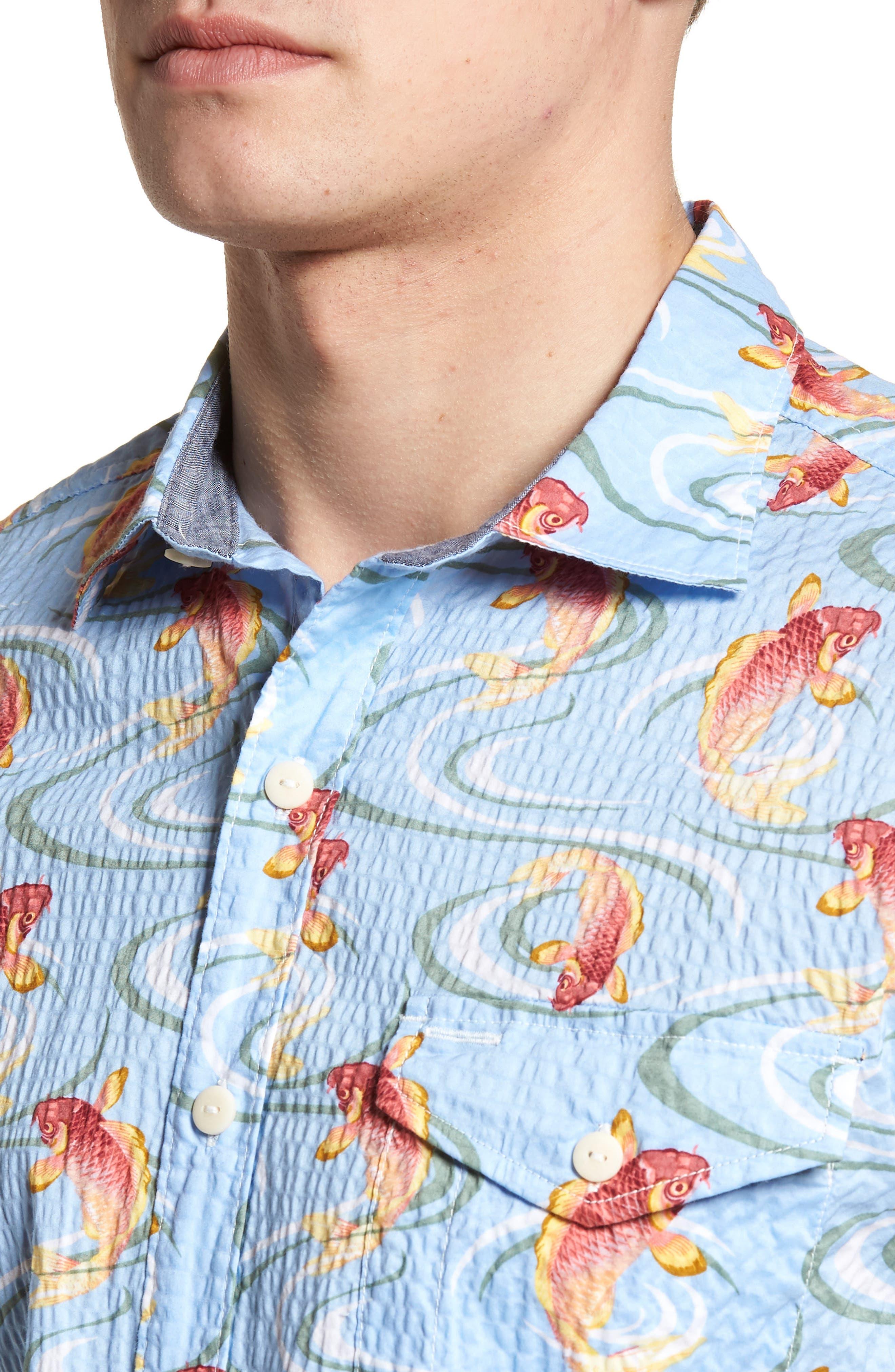 The Kois of Summer Regular Fit Camp Shirt,                             Alternate thumbnail 4, color,                             Light Sky