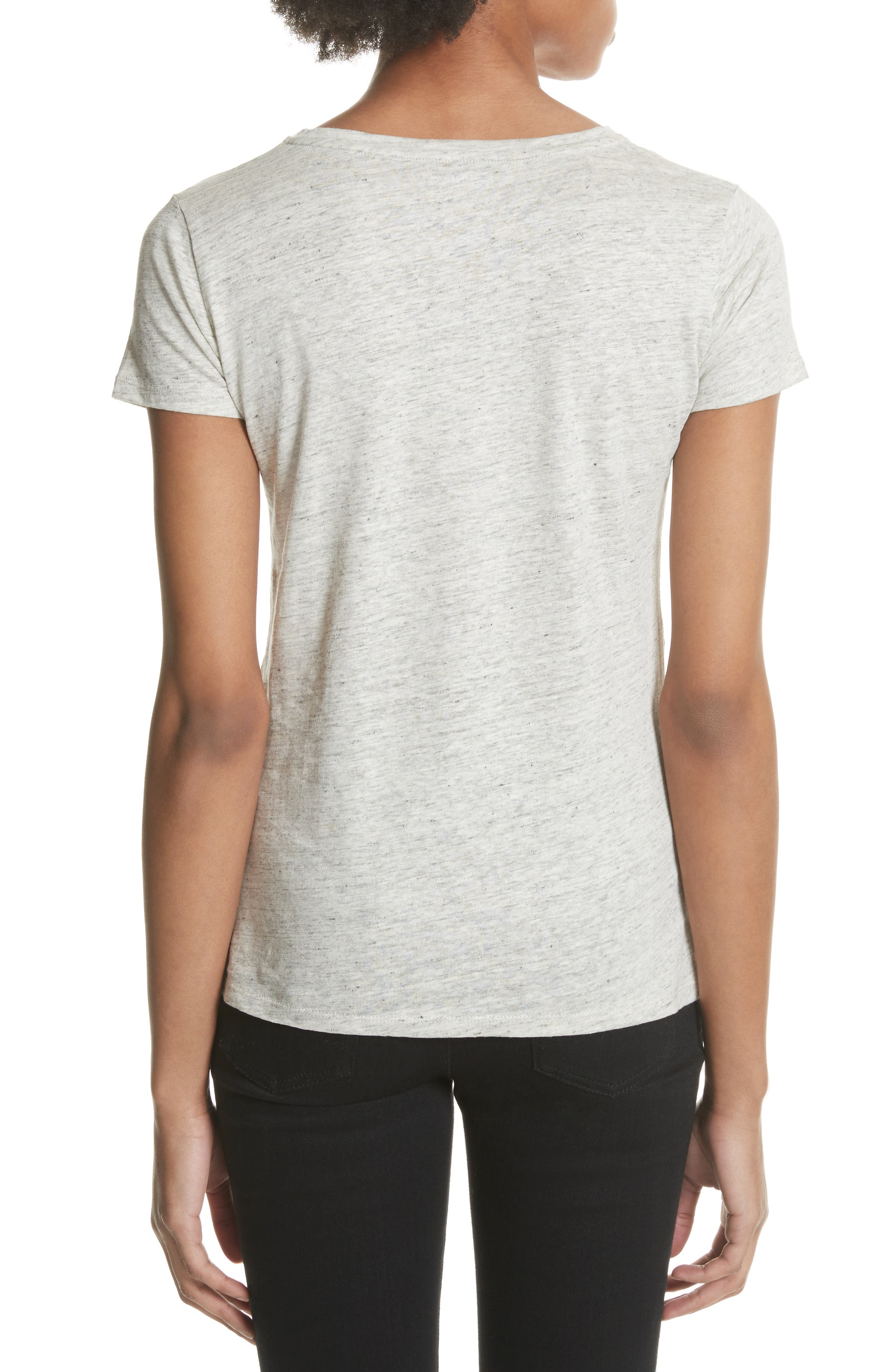 Stretch Linen V-Neck Tee,                             Alternate thumbnail 2, color,                             Carrare