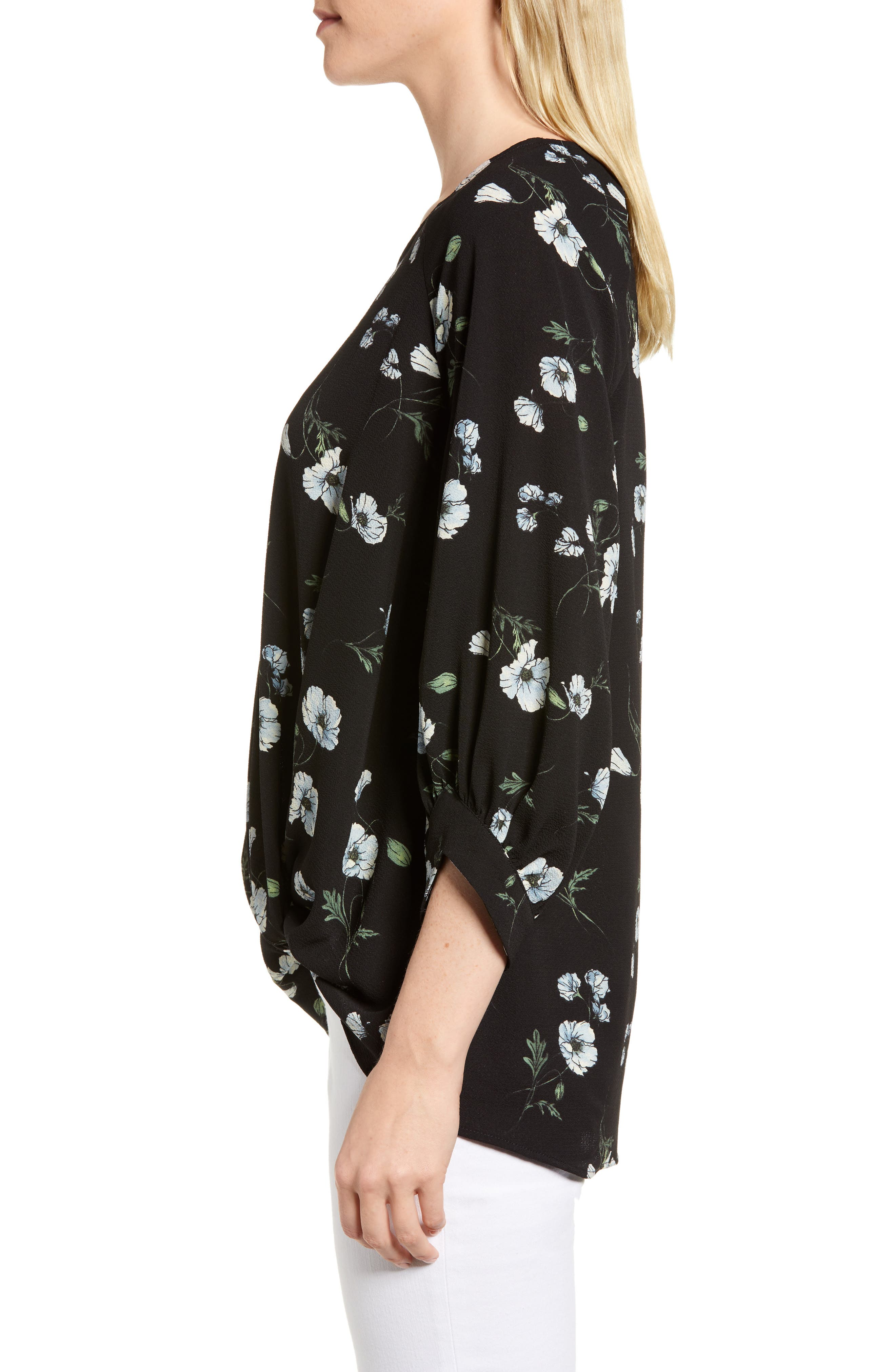 x Living in Yellow Maggie Twist Hem Top,                             Alternate thumbnail 4, color,                             Black Floral