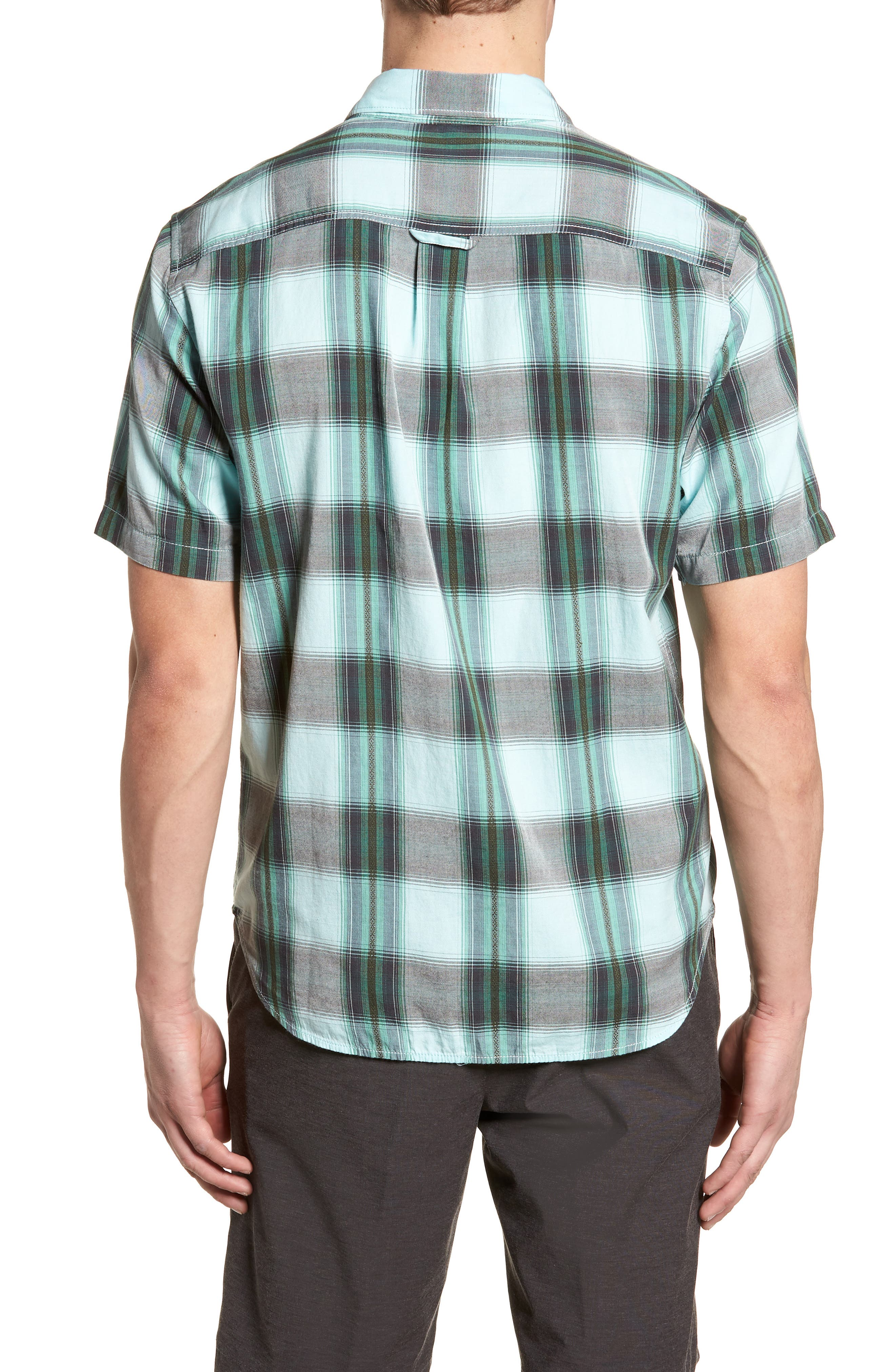 Biscayne Plaid Regular Fit Sport Shirt,                             Alternate thumbnail 2, color,                             Aqua Mist