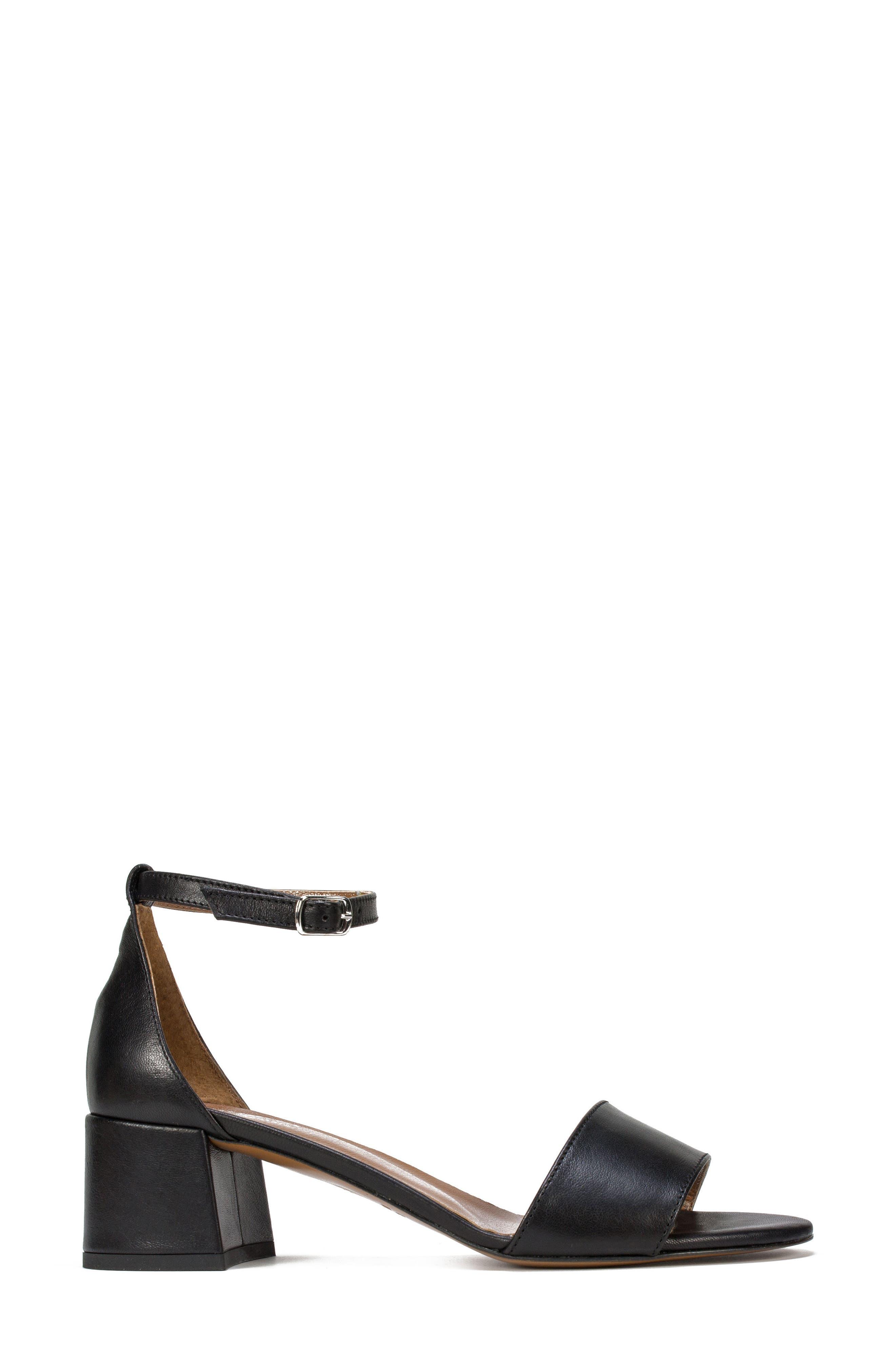 Ameila Block Heel Sandal,                             Alternate thumbnail 3, color,                             Black Leather
