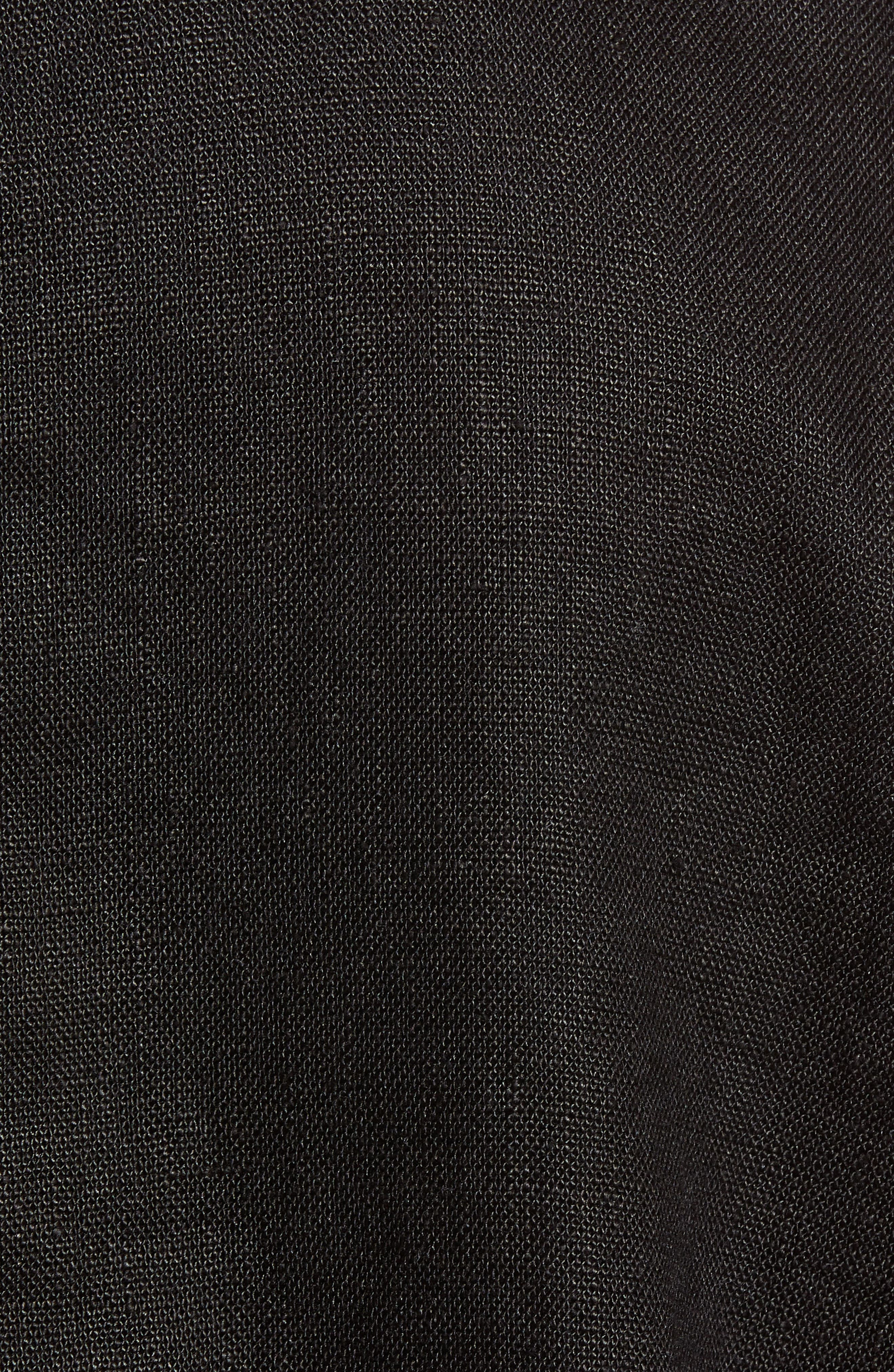 Drawstring Organic Linen Jacket,                             Alternate thumbnail 6, color,                             Black