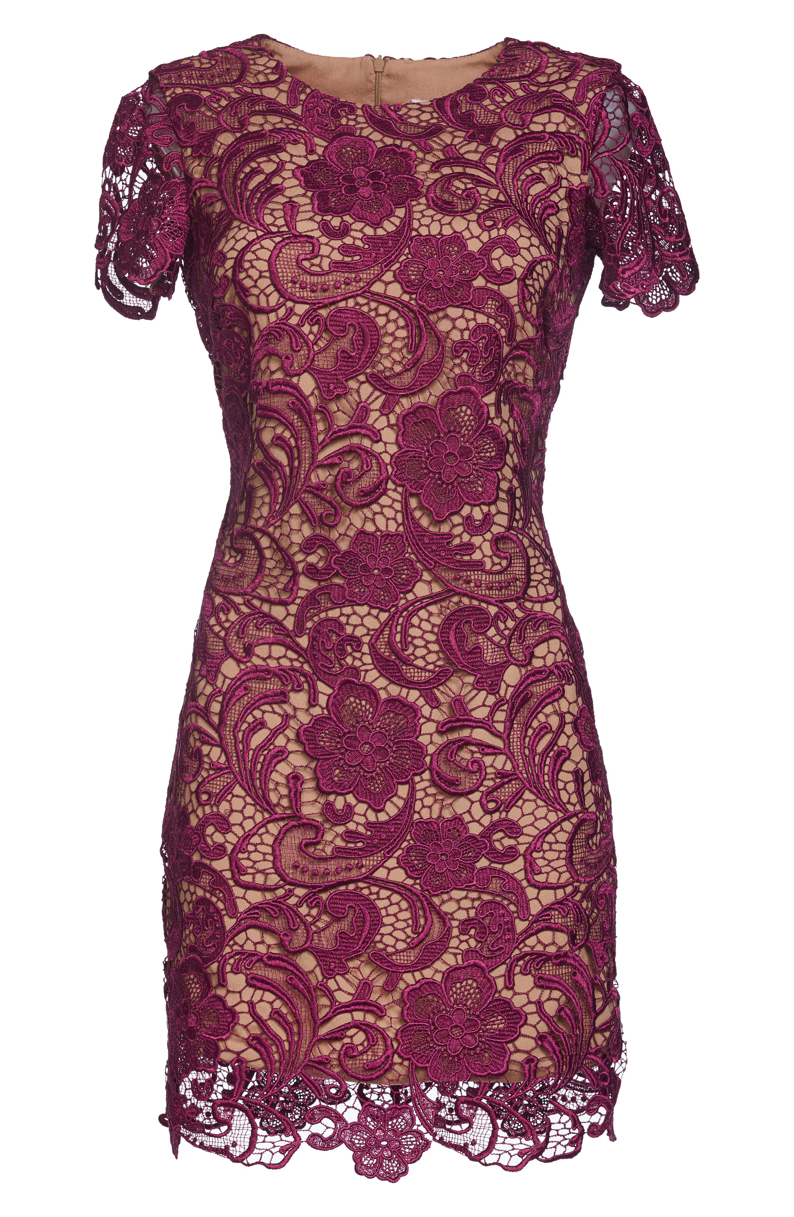 Anna Crochet Lace Sheath Dress,                             Alternate thumbnail 6, color,                             Mulberry/ Nude
