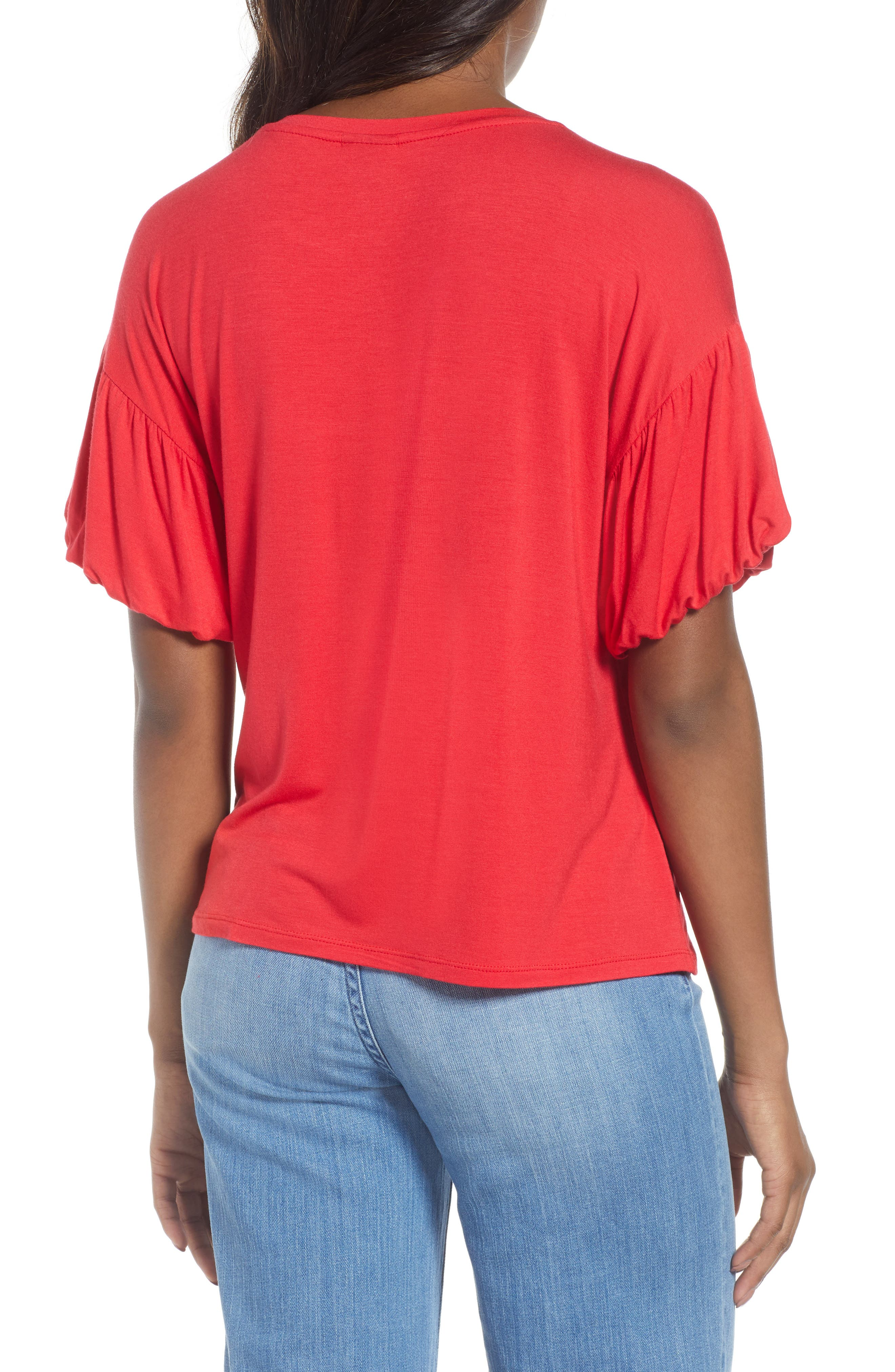 Knit Bubble Sleeve Tee,                             Alternate thumbnail 2, color,                             Red Lipstick