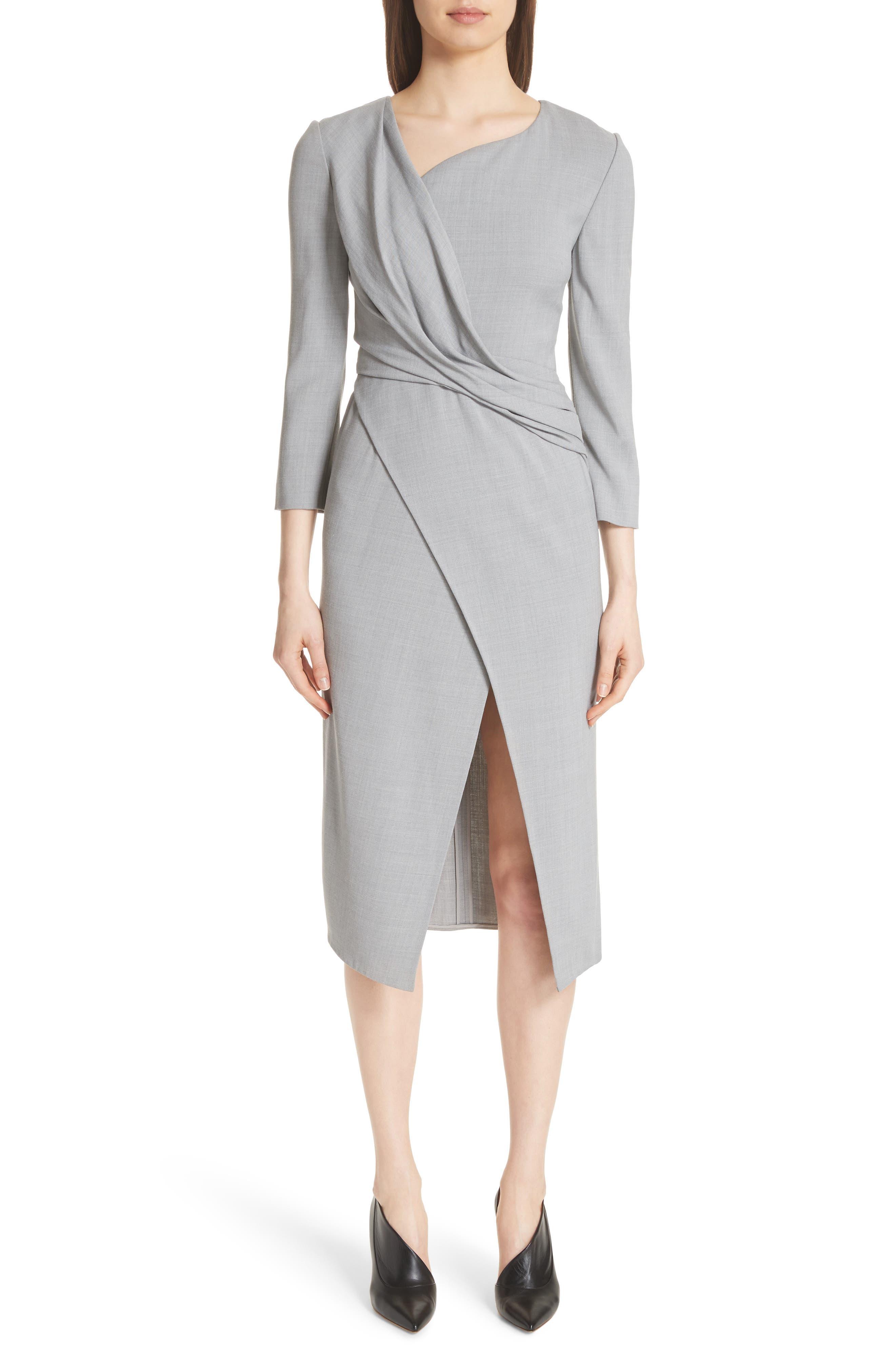 Wrap Panel Envelope Hem Dress,                             Main thumbnail 1, color,                             Light Grey Melange
