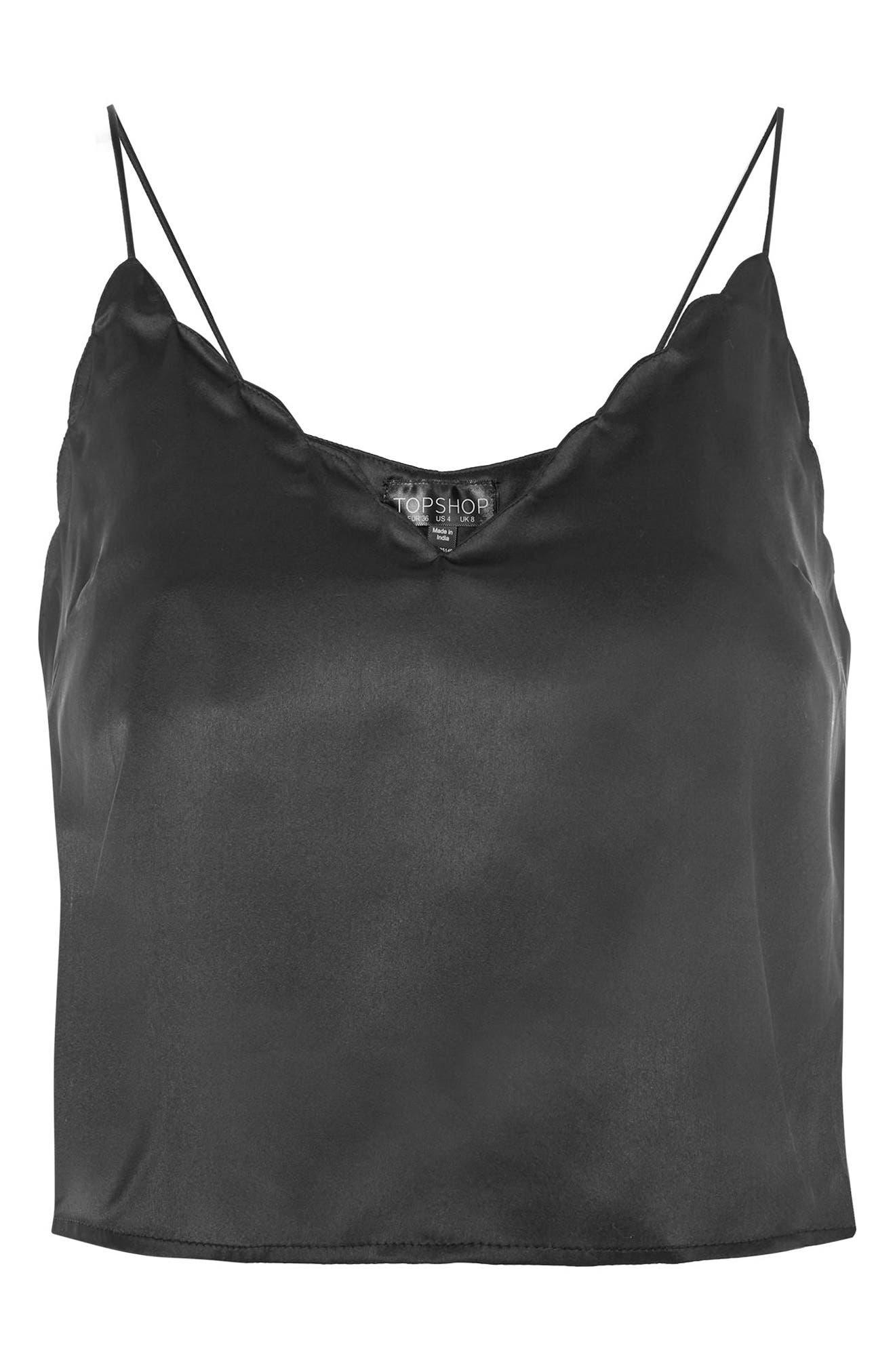 Scallop Crop Camisole,                             Alternate thumbnail 6, color,                             Black