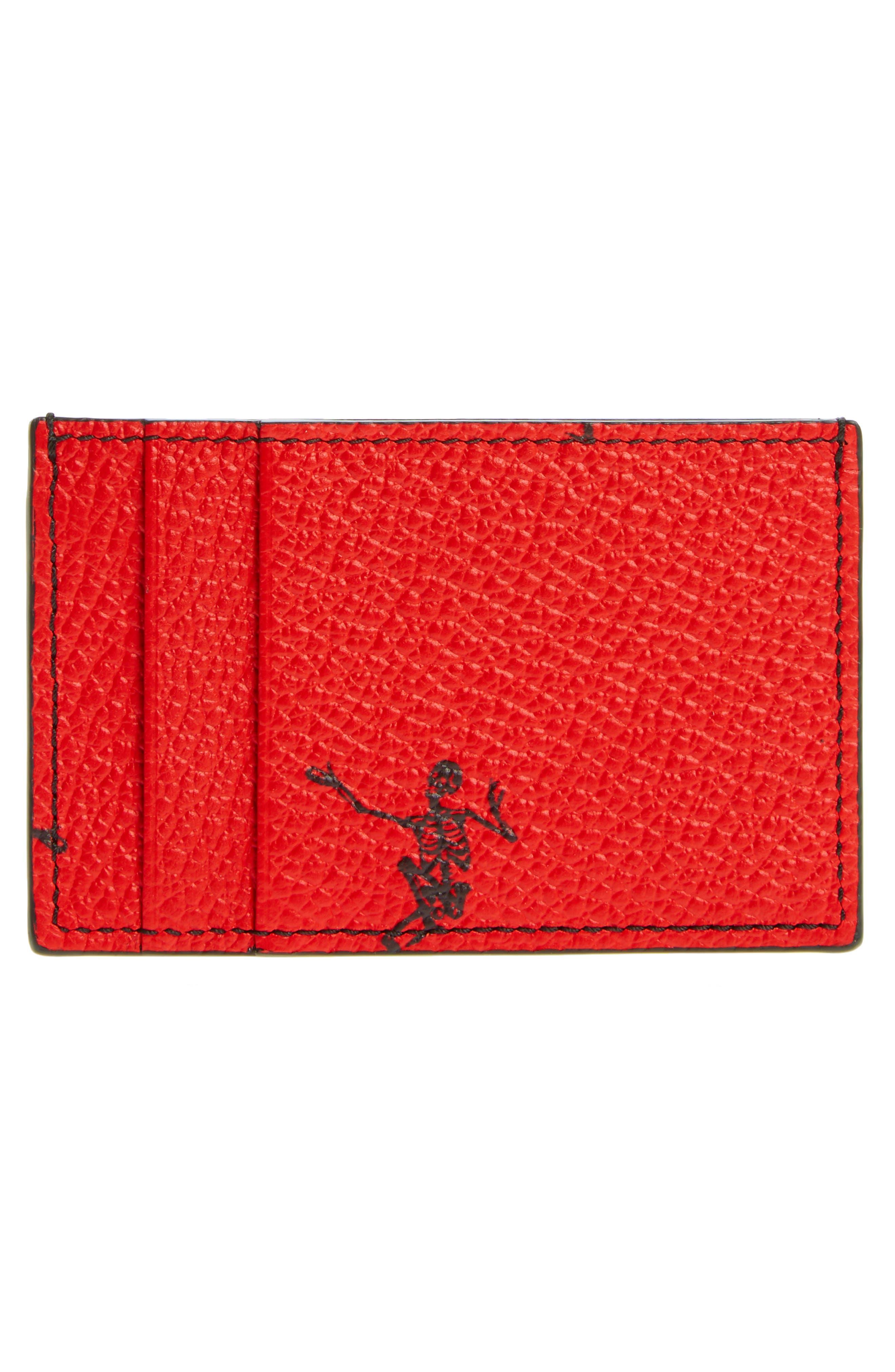 Dancing Skeleton Card Case,                             Alternate thumbnail 2, color,                             Scarlet Red/ Black