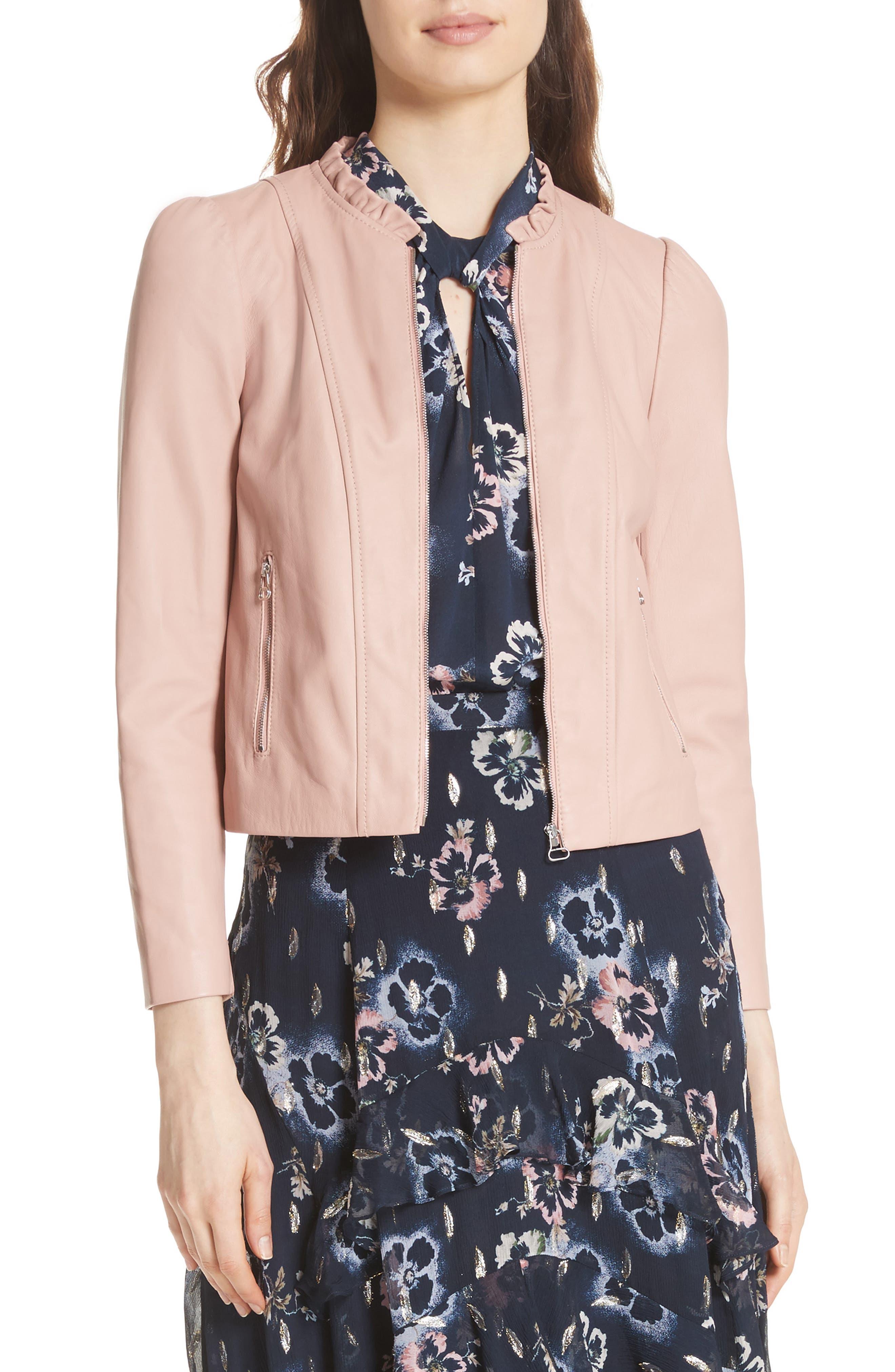 Ruffle Trim Leather Jacket,                         Main,                         color, Rose Hip