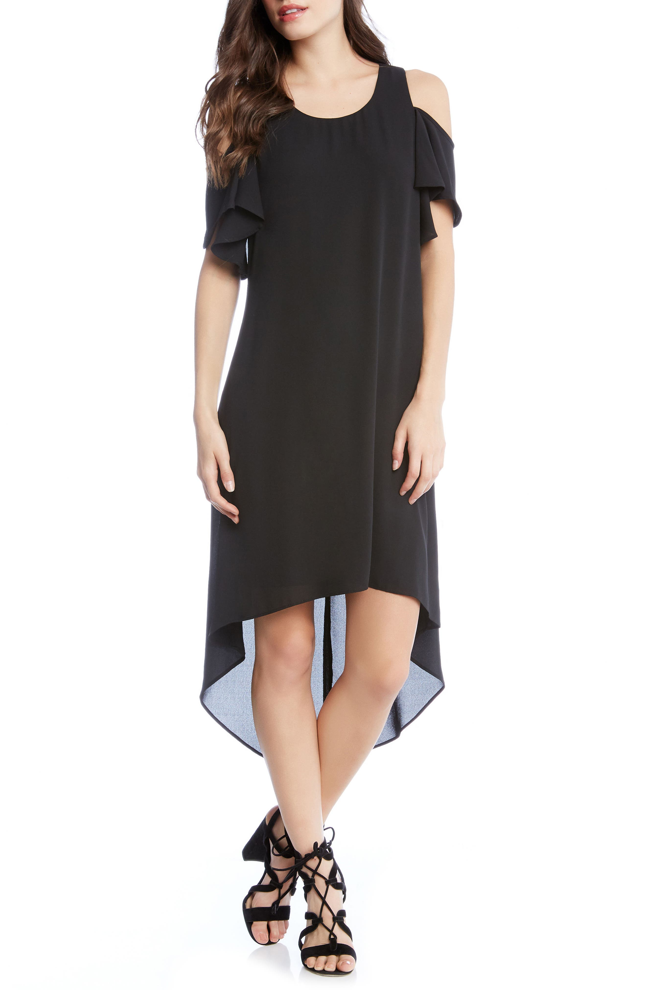 Cold Shoulder High/Low Dress,                             Main thumbnail 1, color,                             Black