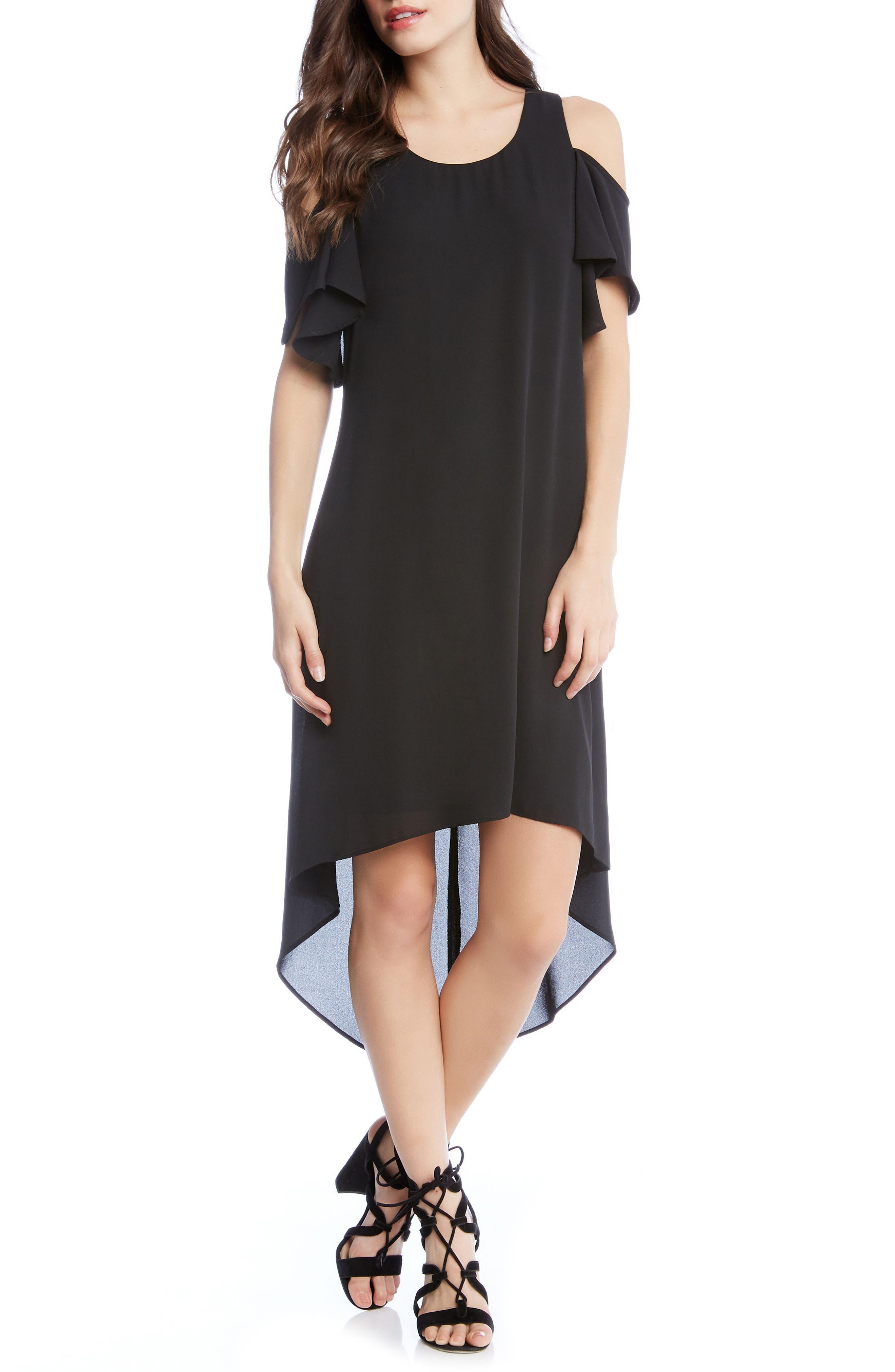 Cold Shoulder High/Low Dress,                         Main,                         color, Black