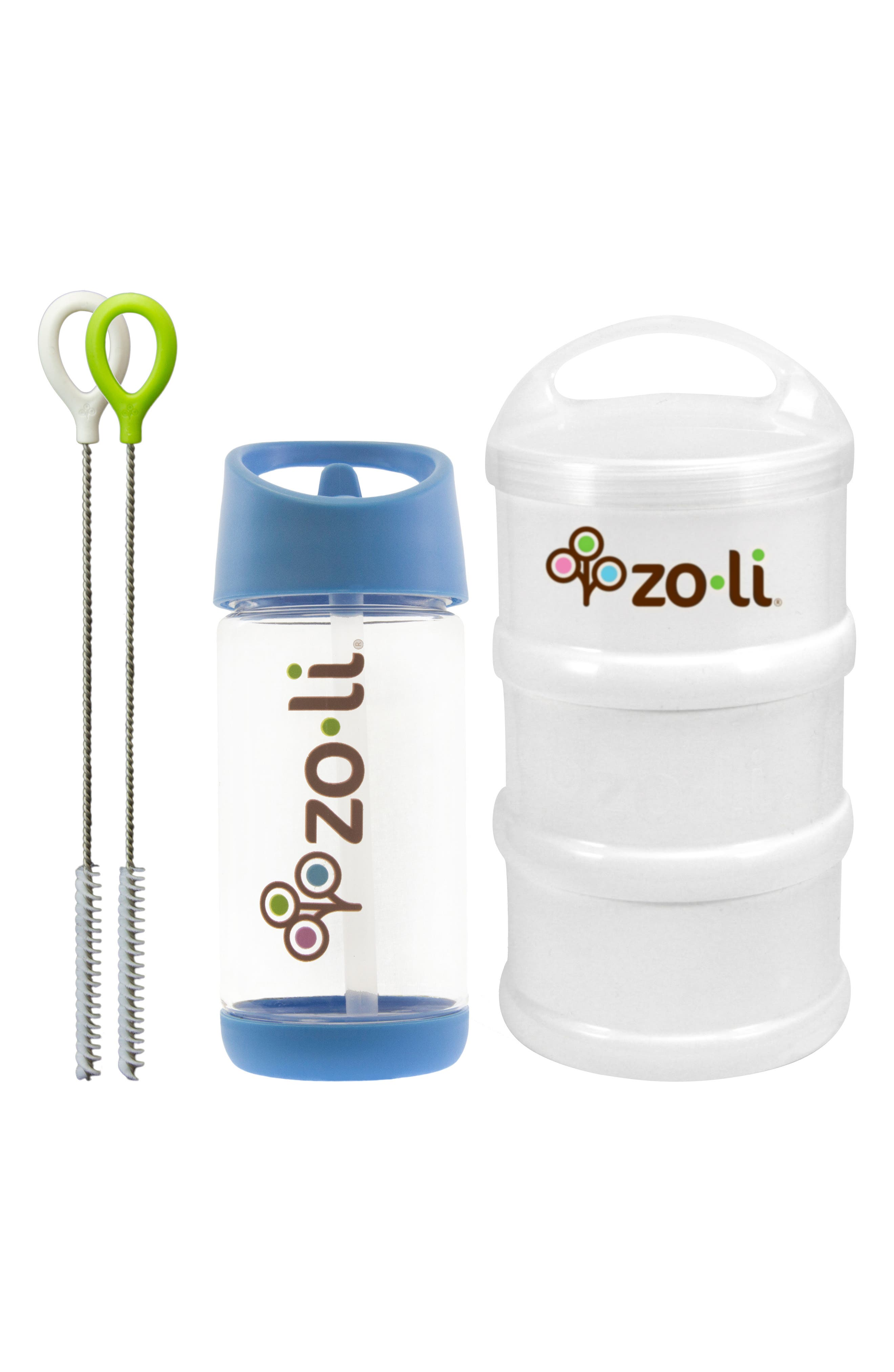 Snack & Water Bottle Set,                         Main,                         color, Blue/ White