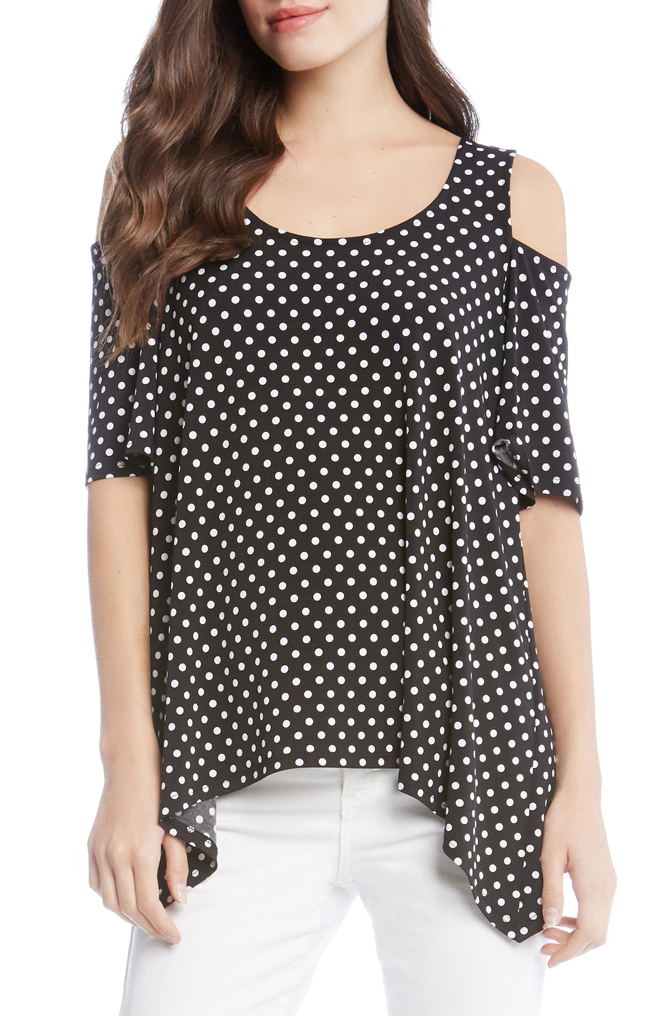 Cold Shoulder Top,                             Main thumbnail 1, color,                             Dotted