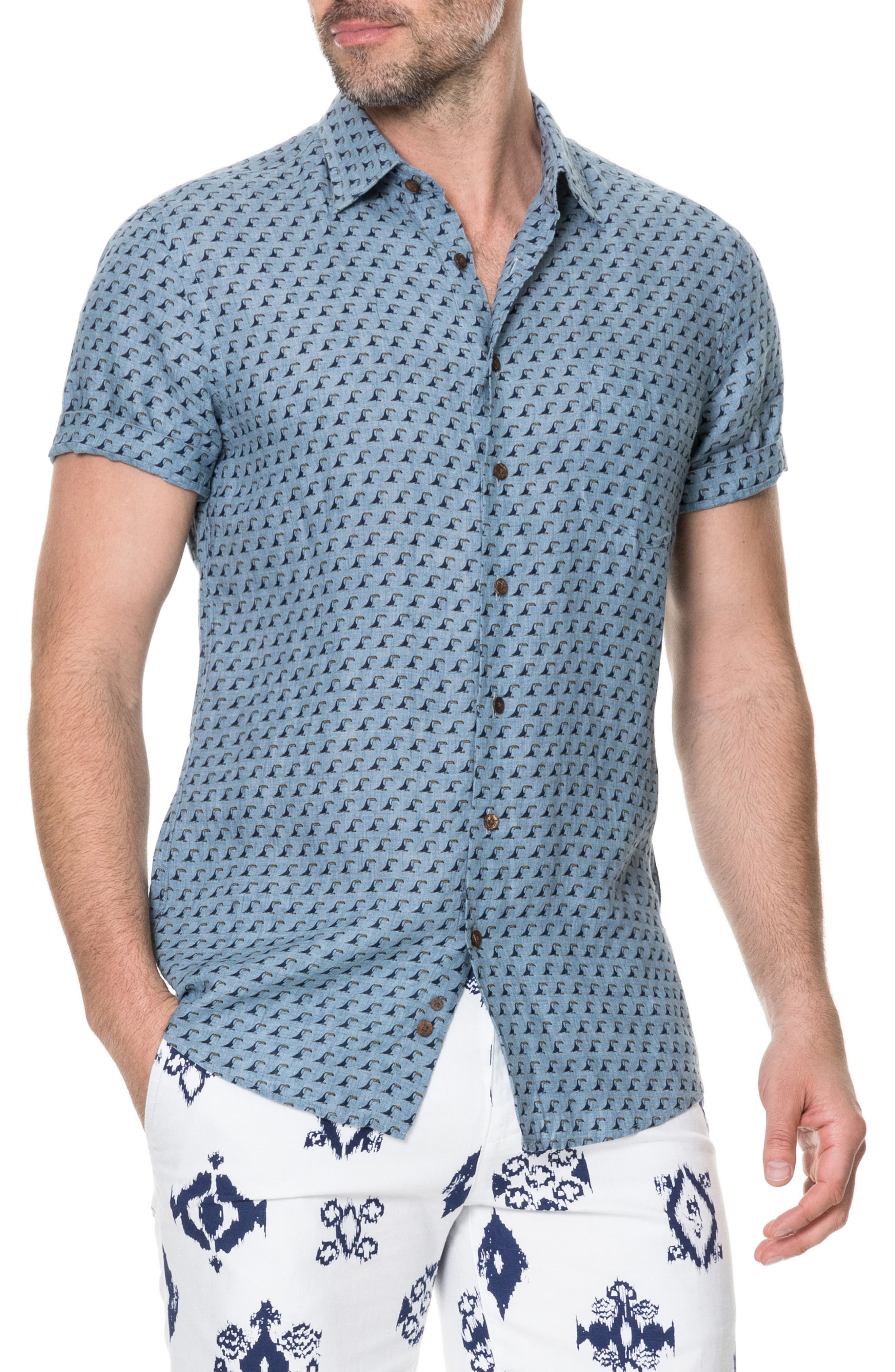 York Bay Slim Fit Print Linen Sport Shirt,                         Main,                         color, Stonewash