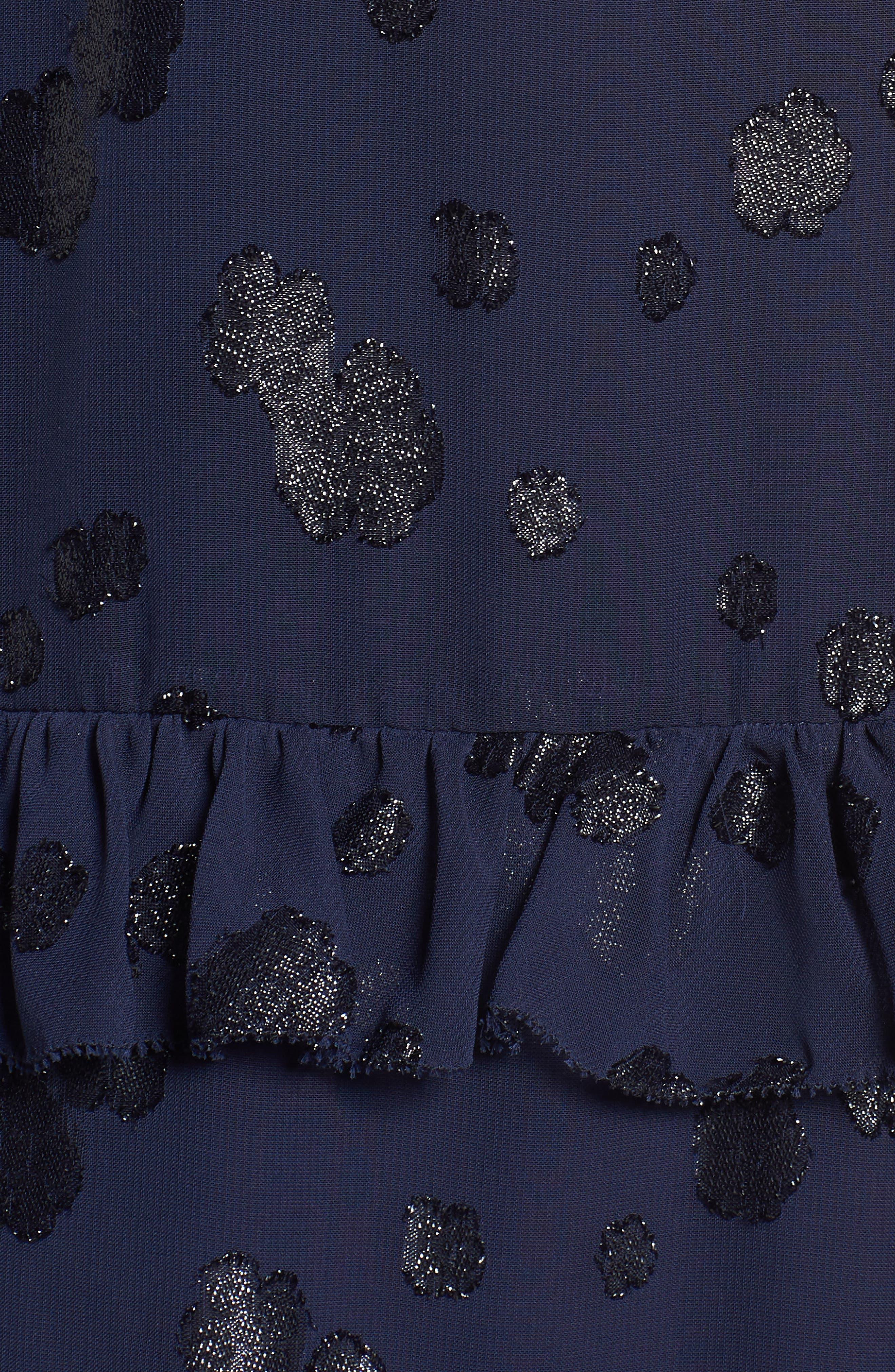 Tiered Ruffle Dress,                             Alternate thumbnail 5, color,                             True Navy