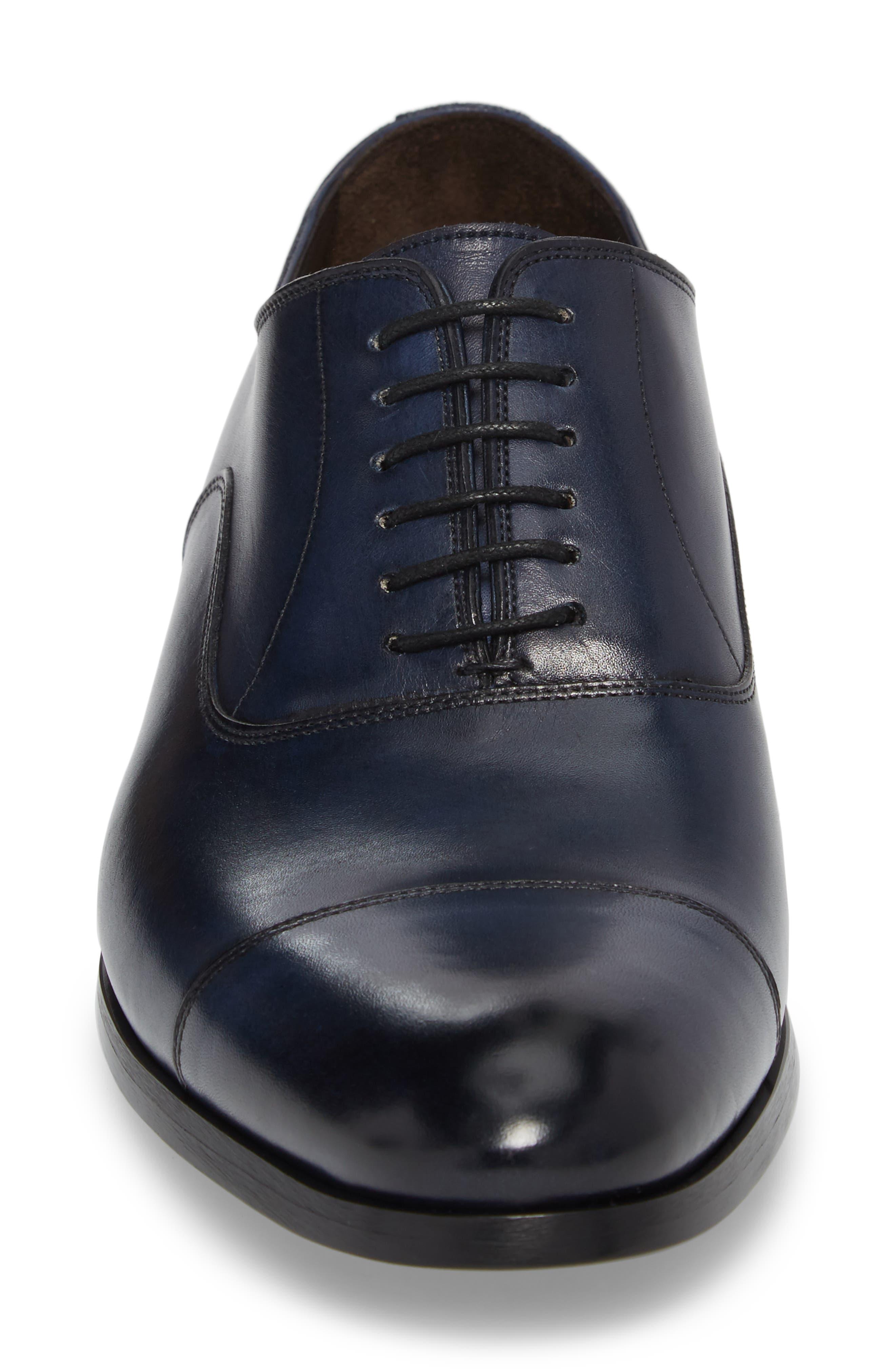 Hartcourt Cap Toe Oxford,                             Alternate thumbnail 4, color,                             Blue Leather