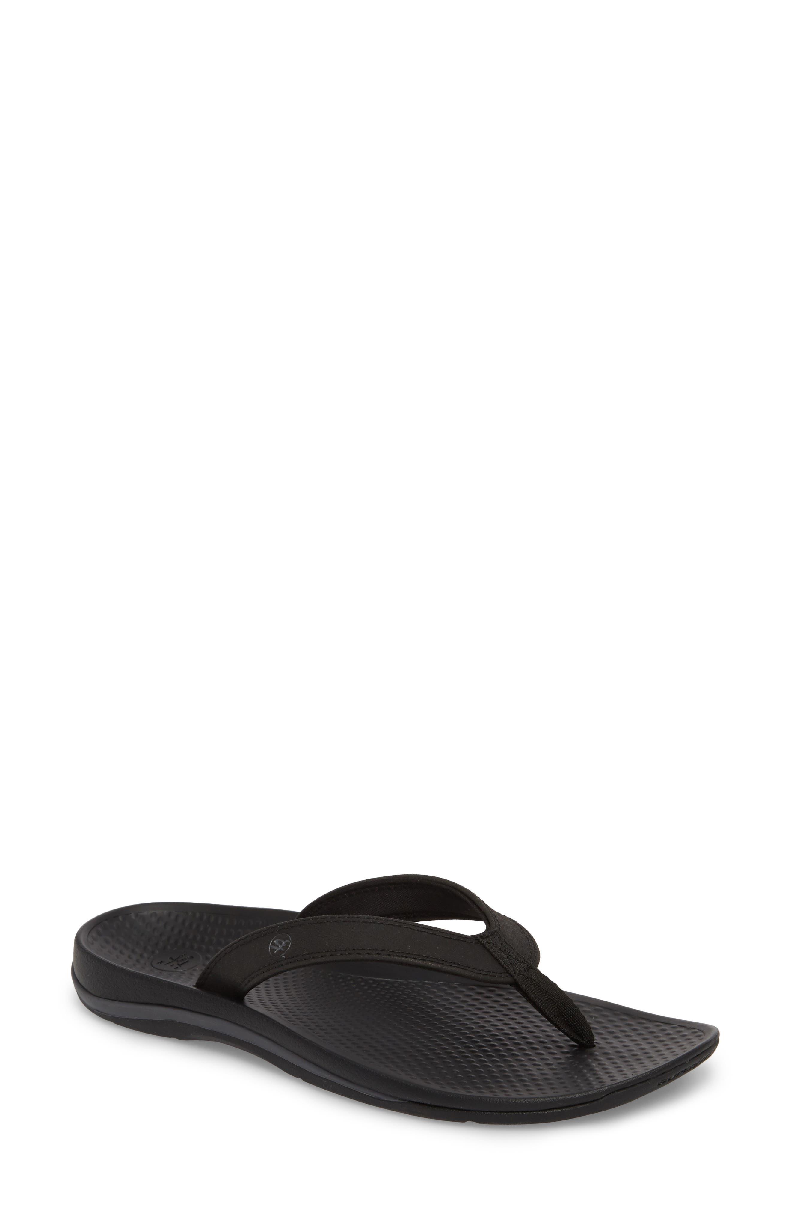 Outside 2.0 Flip Flop,                         Main,                         color, Black Faux Leather