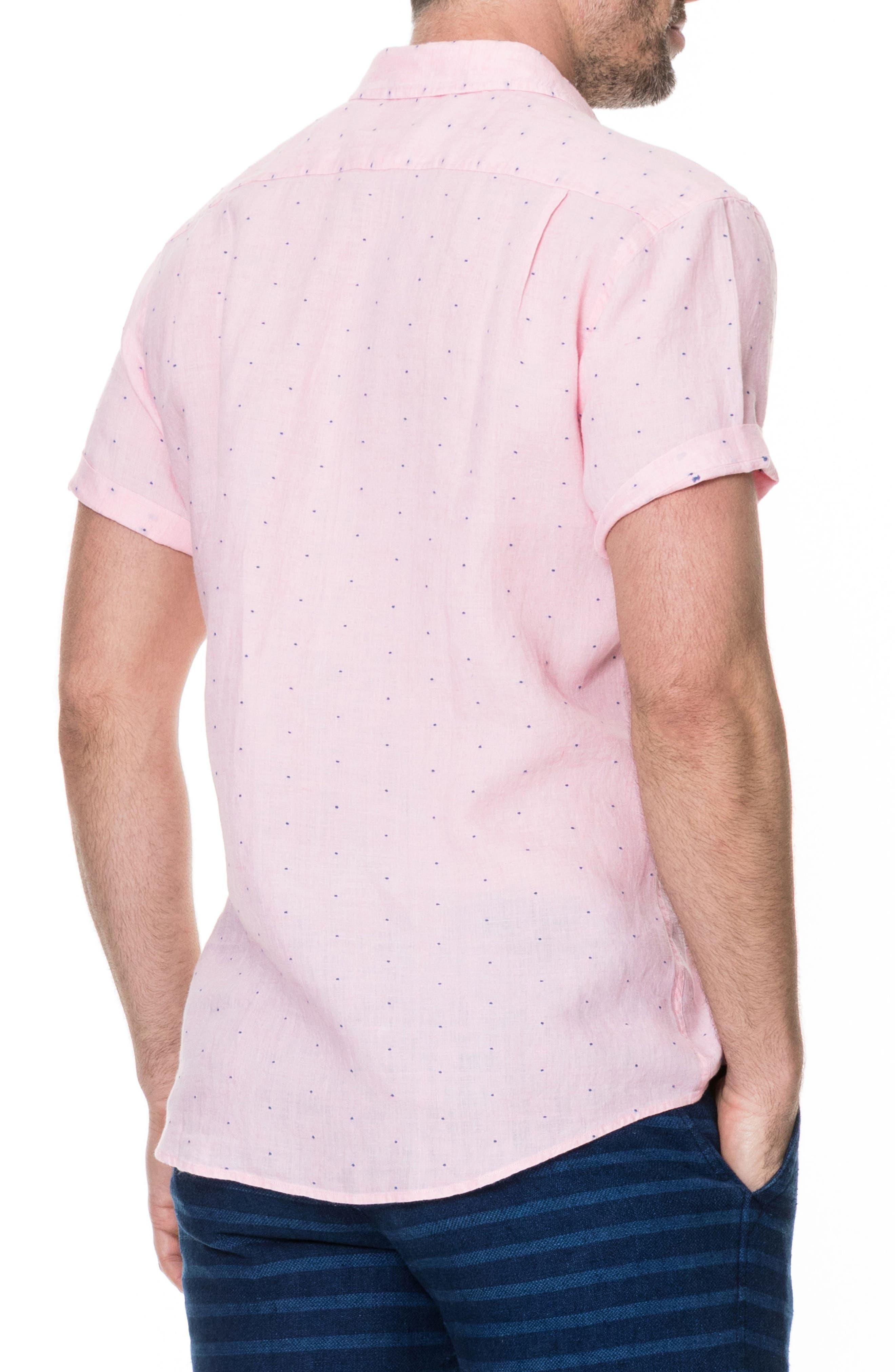 Landmark Slim Fit Dot Linen Sport Shirt,                             Alternate thumbnail 3, color,                             Quartz