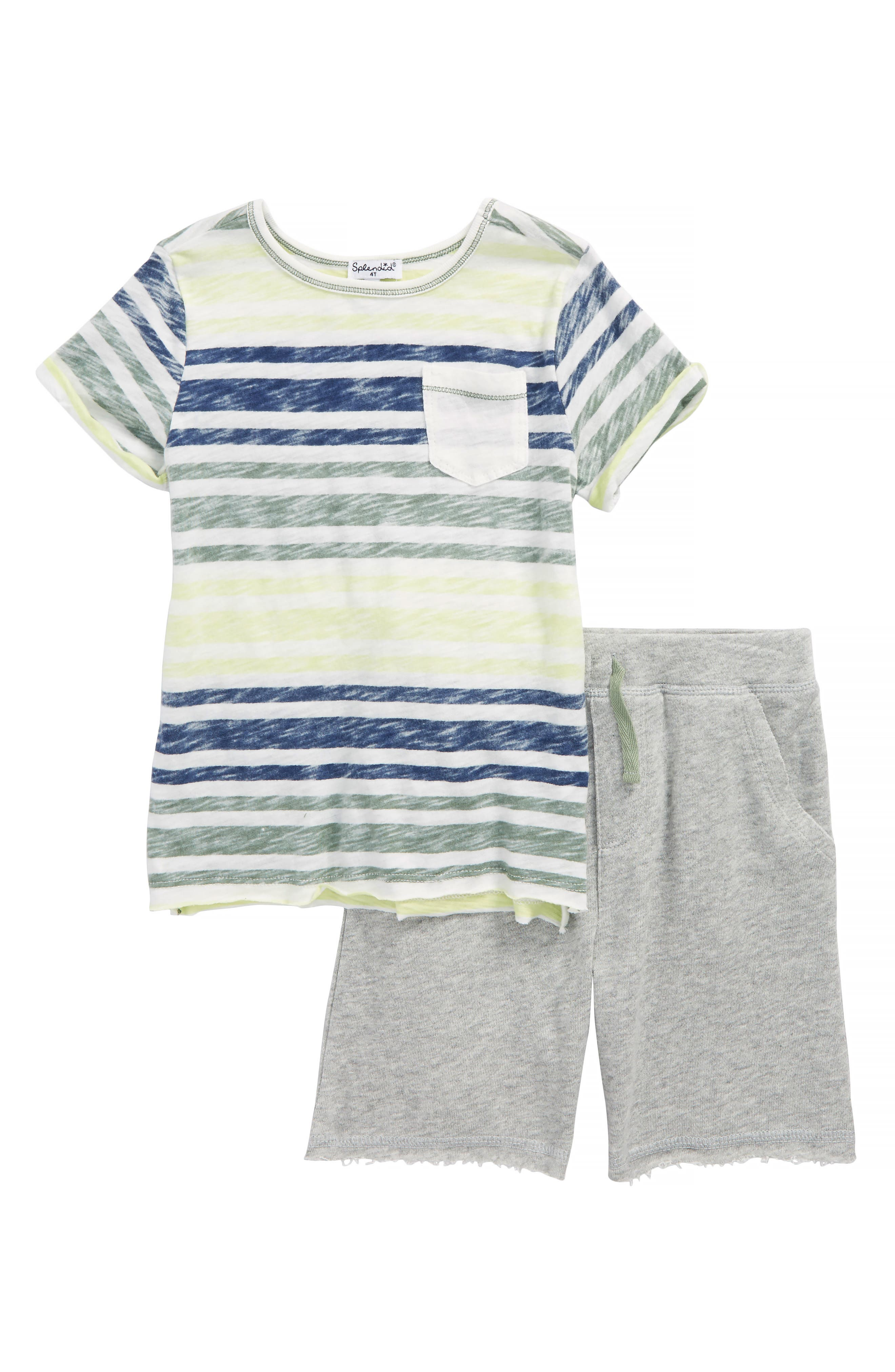 Alternate Image 1 Selected - Splendid Reverse Stripe Shirt & Knit Shorts Set (Toddler Boys & Little Boys)