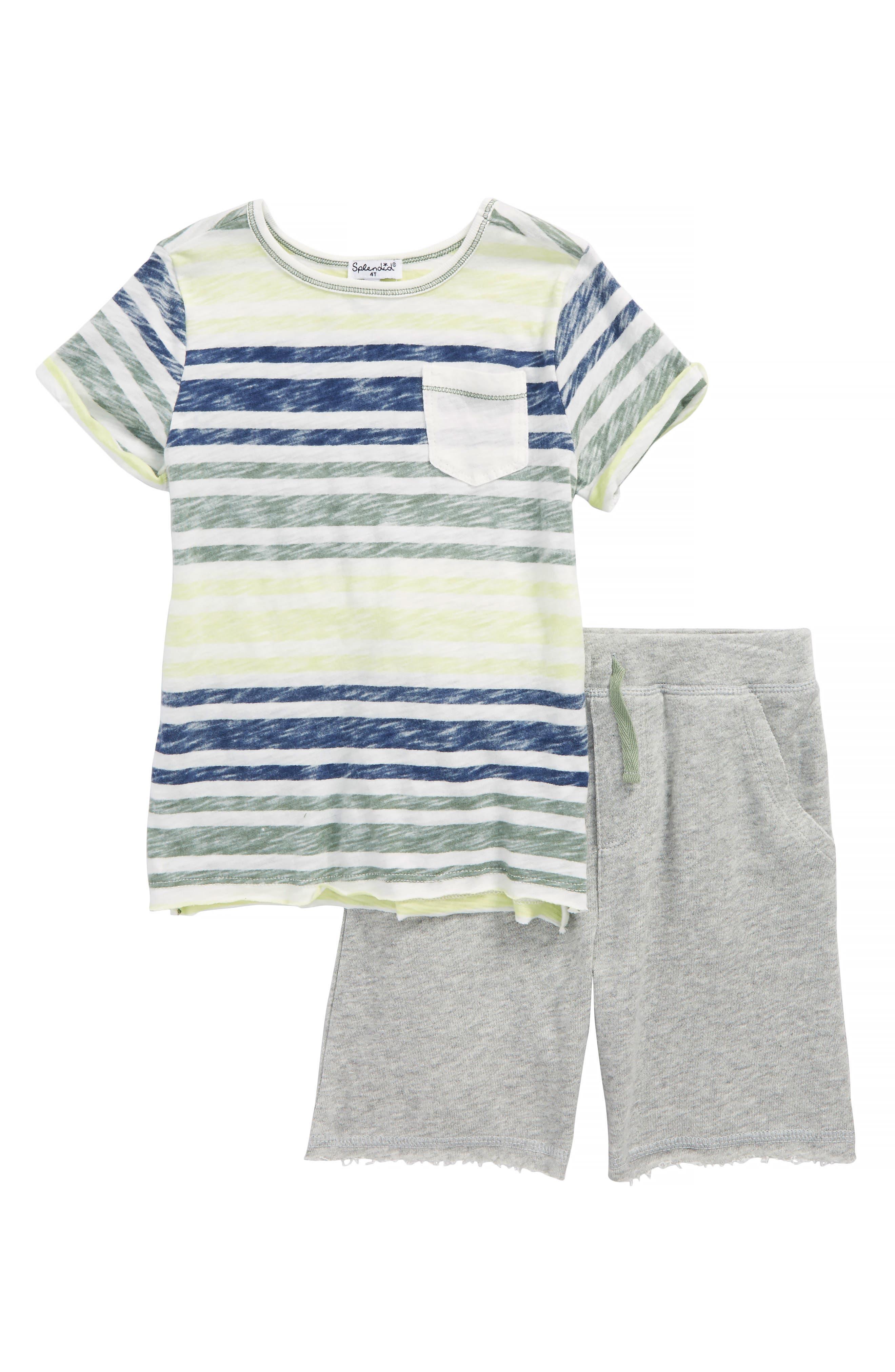 Reverse Stripe Shirt & Knit Shorts Set,                         Main,                         color, White