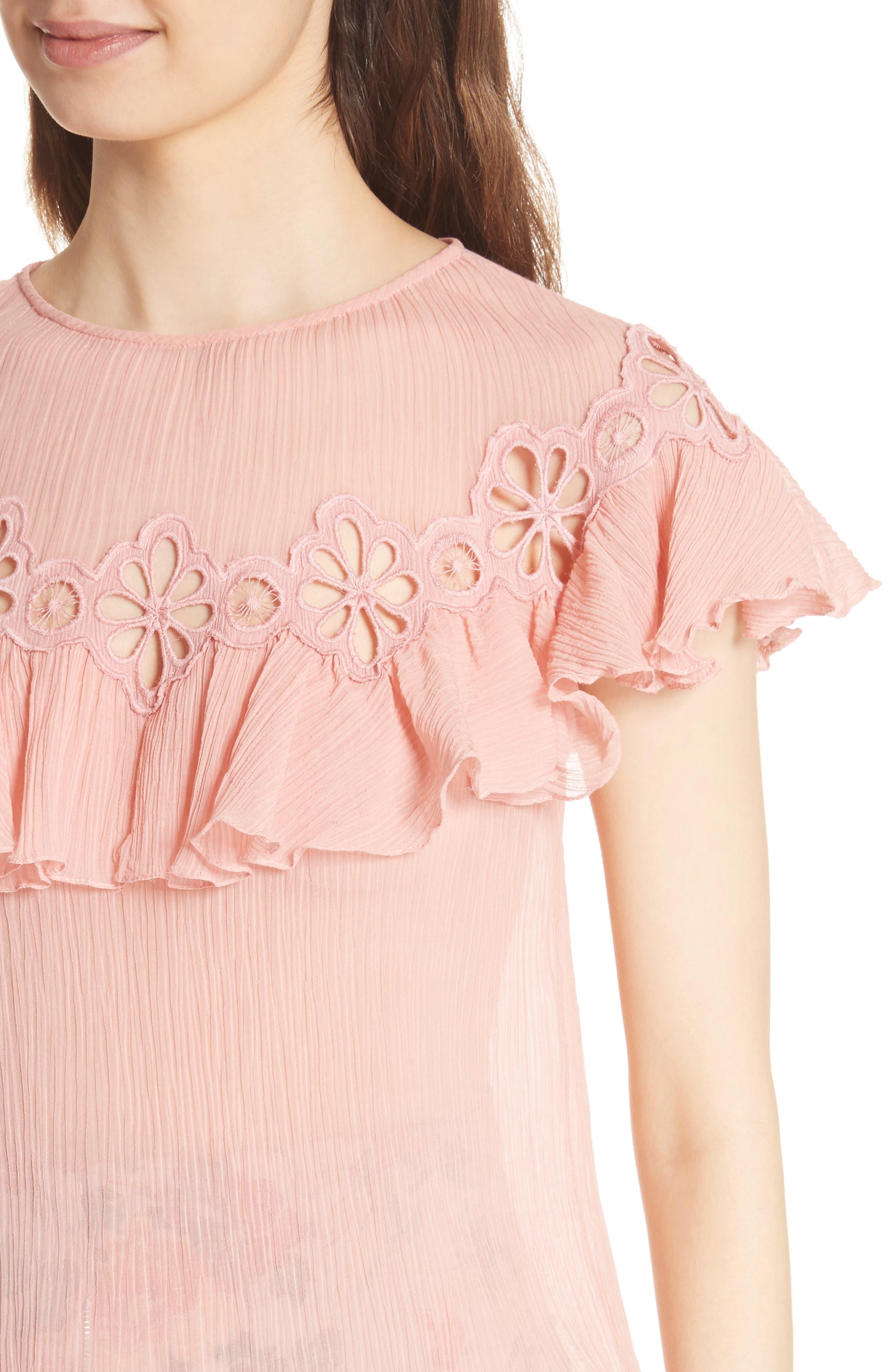 Pinwheel Silk & Cotton Top,                             Alternate thumbnail 4, color,                             Peony