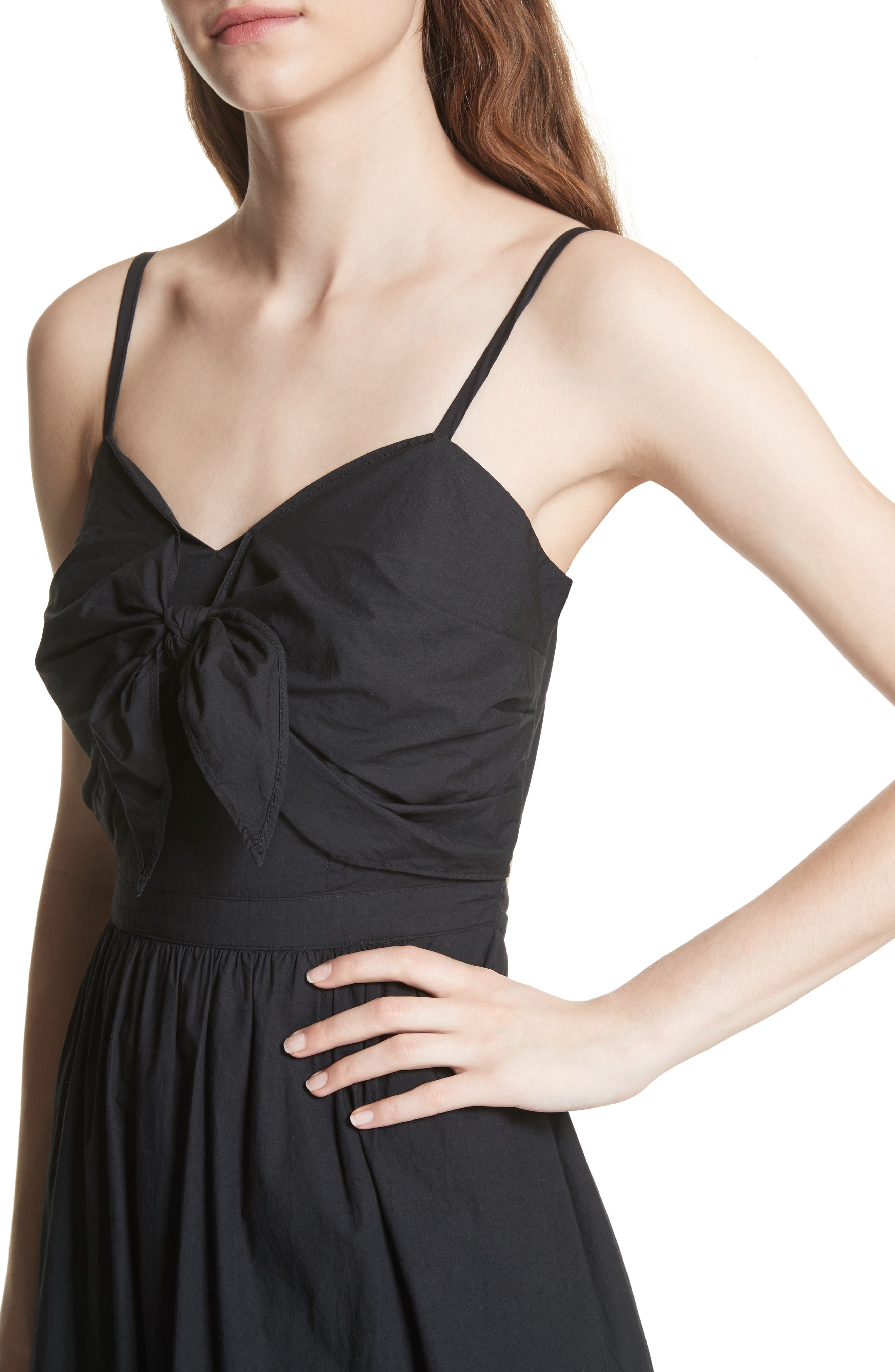 Clorinda Tie Front Cutout Cotton Dress,                             Alternate thumbnail 4, color,                             Caviar