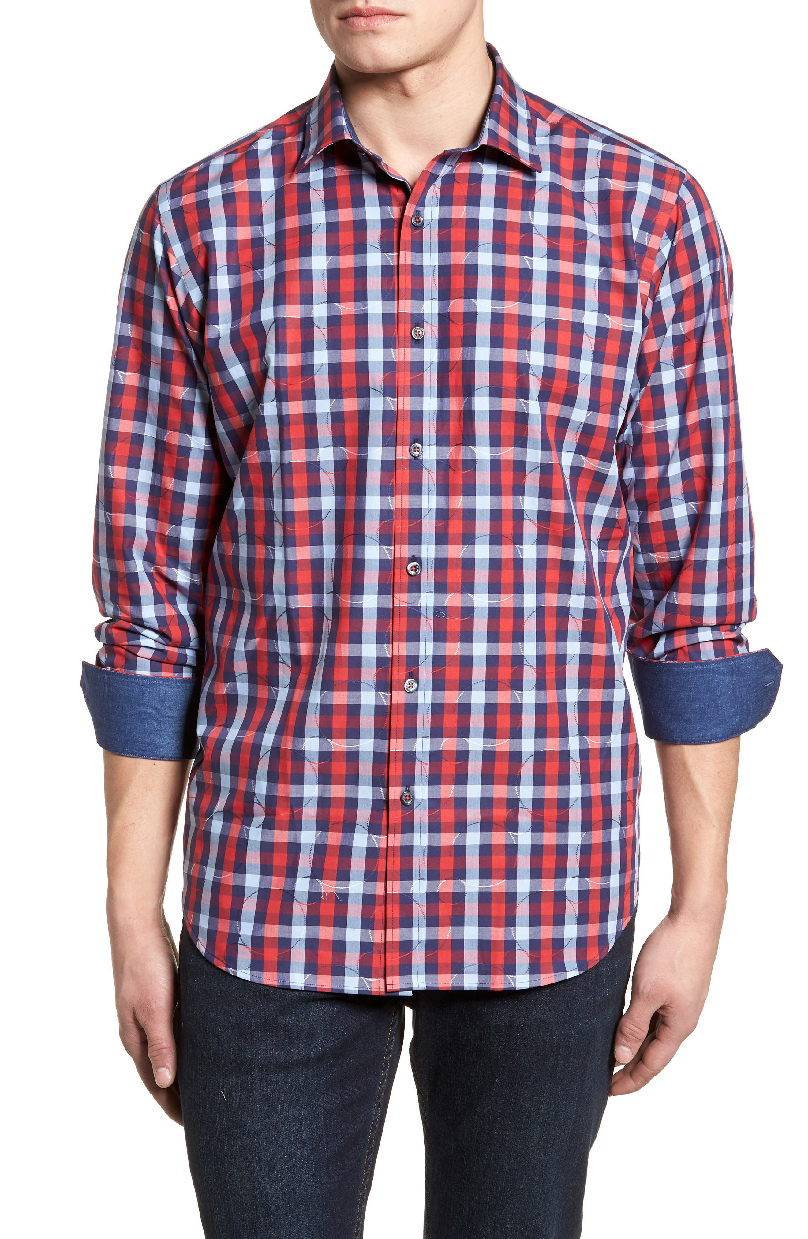 Classic Fit Woven Sport Shirt,                             Main thumbnail 1, color,                             Ruby
