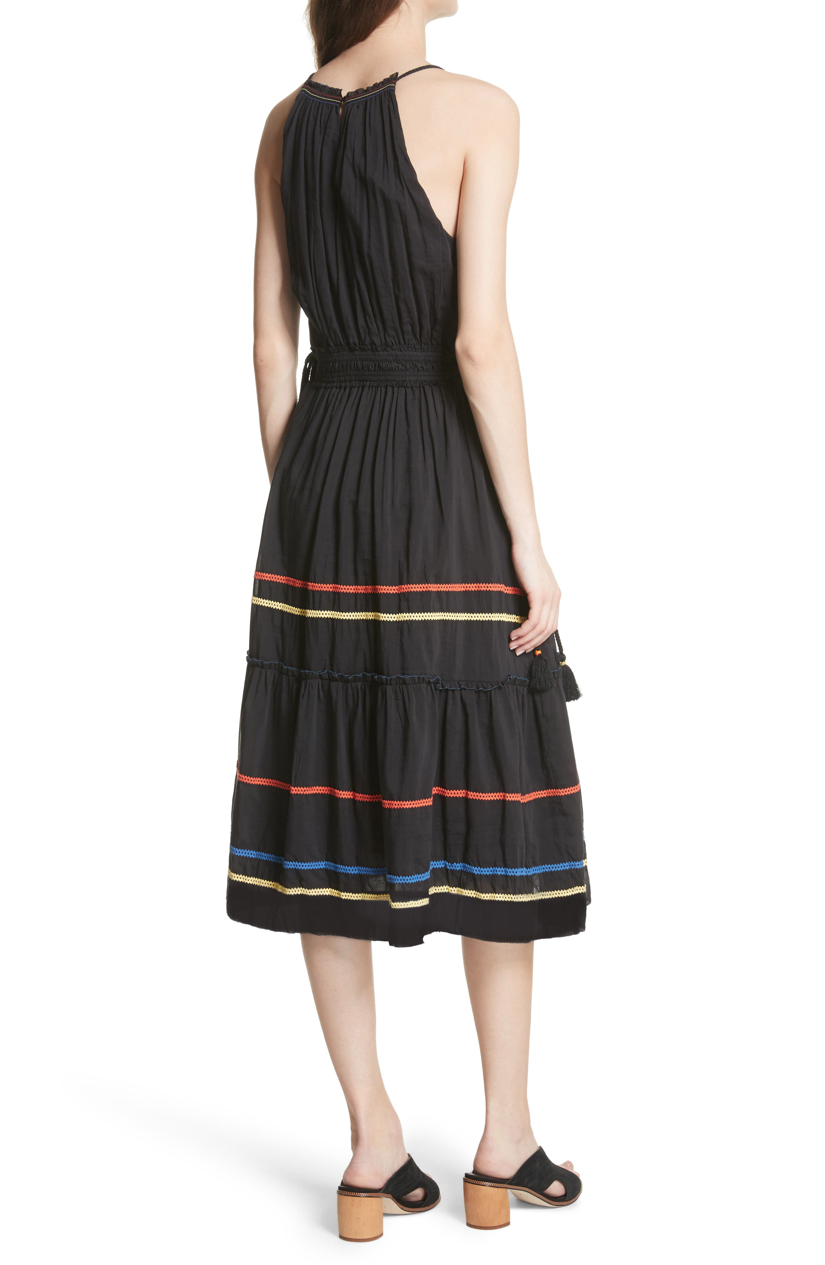 Danit Embroidered Stripe Cotton & Silk Dress,                             Alternate thumbnail 2, color,                             Caviar