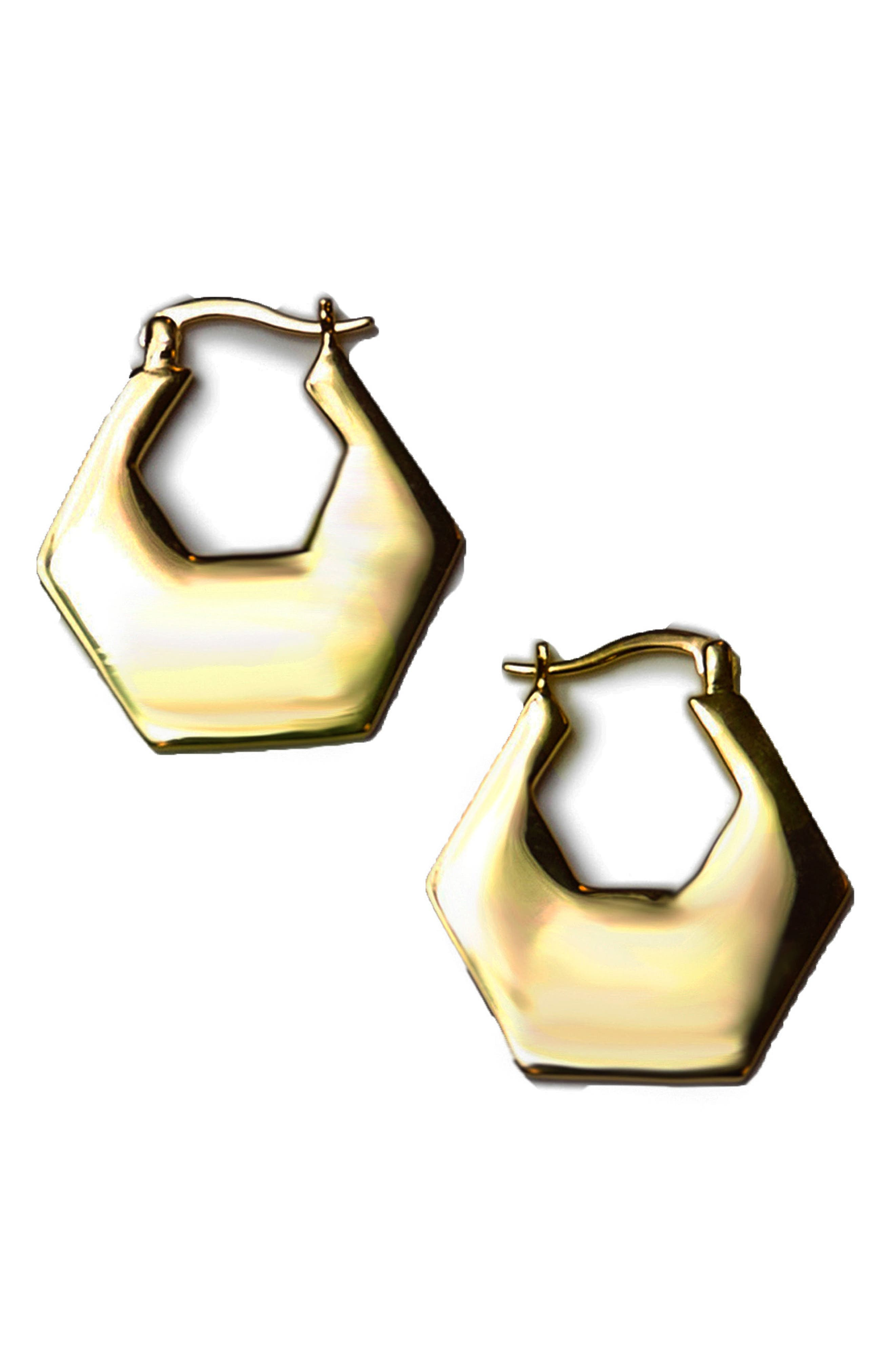 Hexagon Hoop Earrings,                             Main thumbnail 1, color,                             Gold