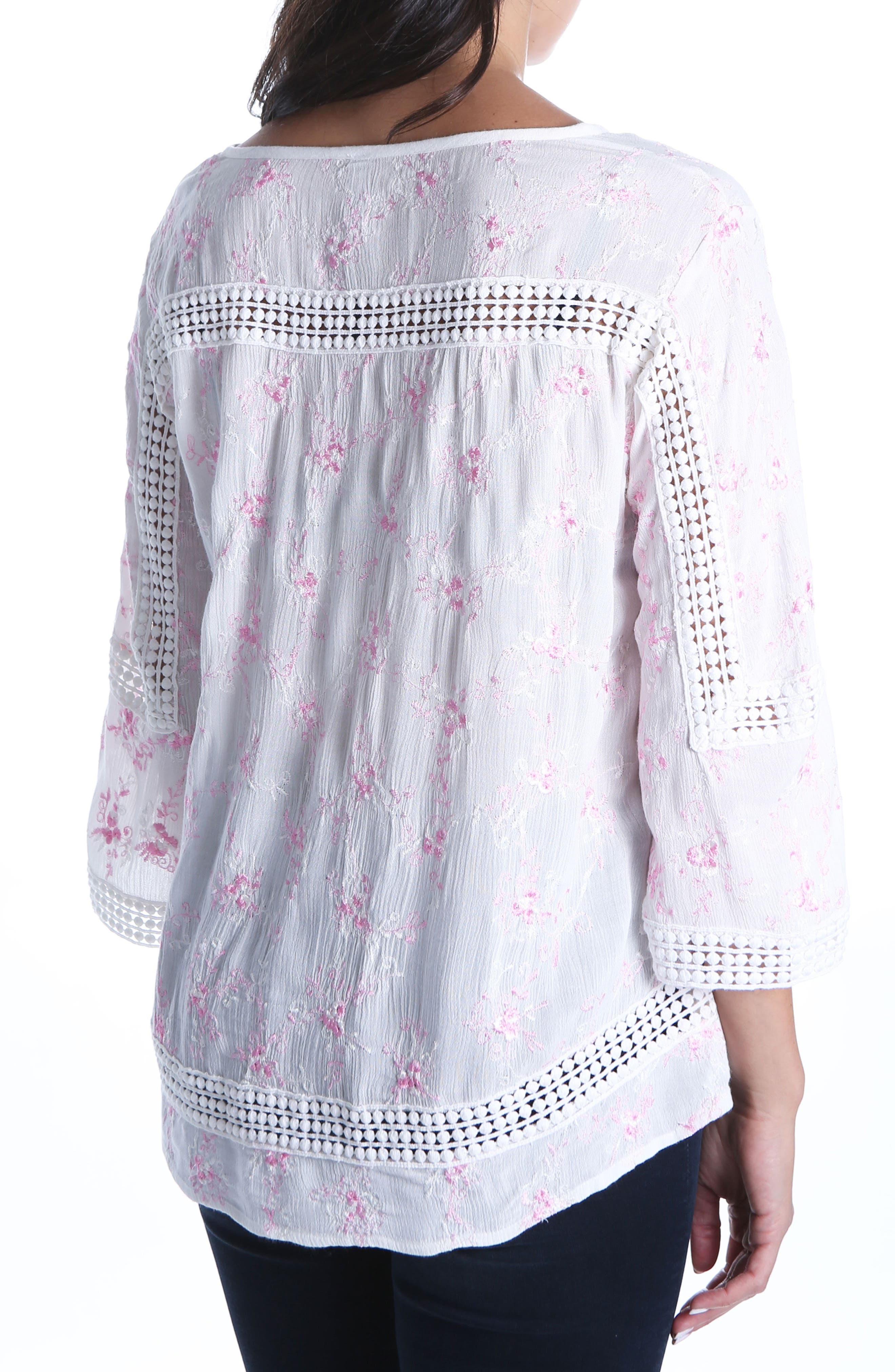 Embroidered Blouse,                             Alternate thumbnail 2, color,                             White/ Pink