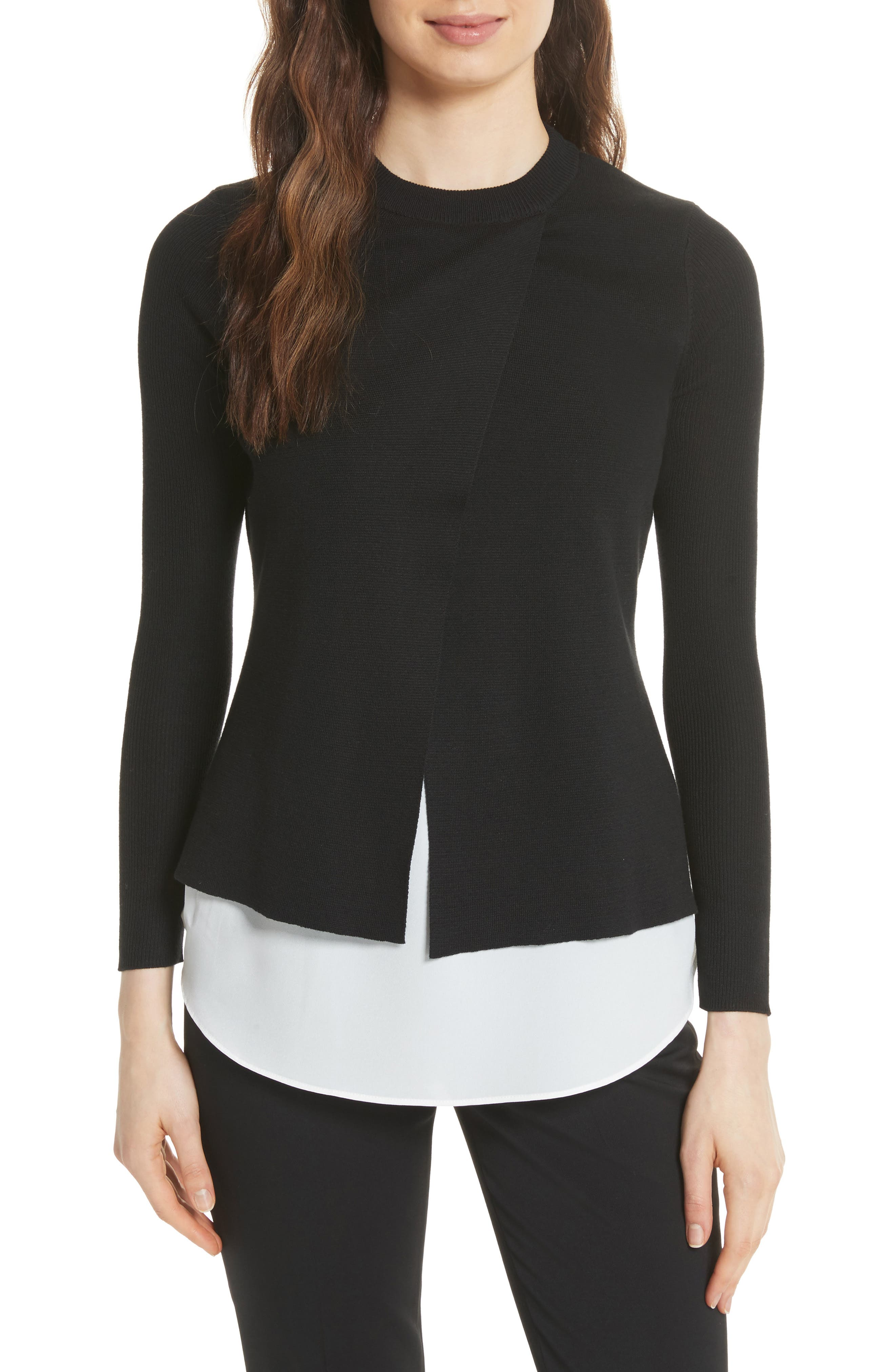 Mock Two-Piece Sweater,                             Main thumbnail 1, color,                             Black