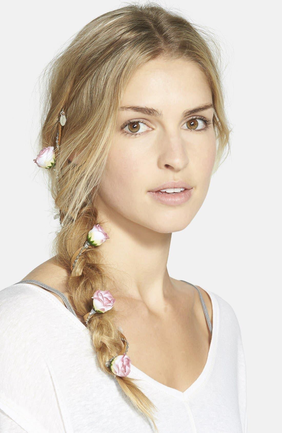 Main Image - Berry 'Rose Chain' Braid-In Hair Clip