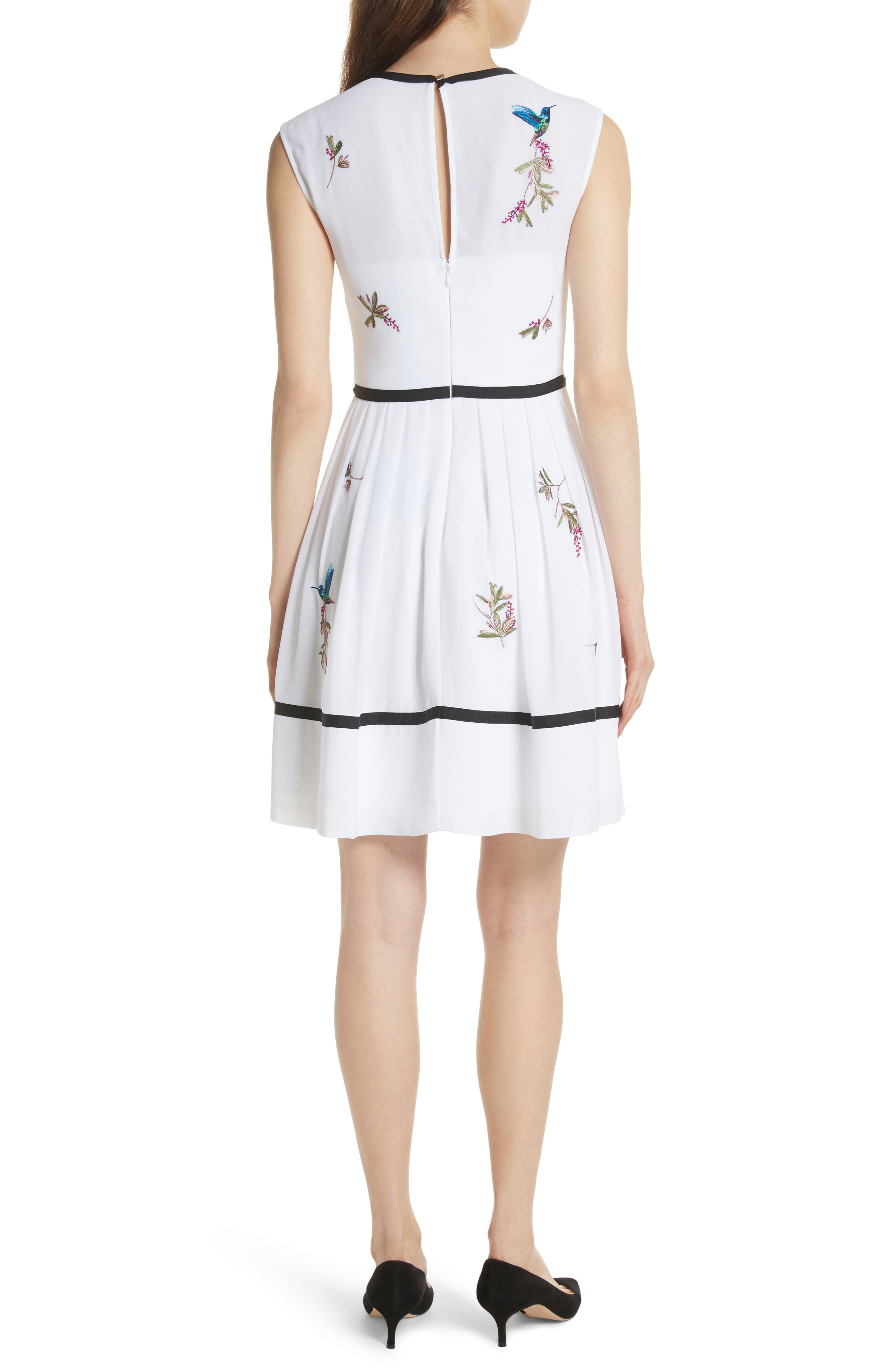 Bow Trim Embroidered Dress,                             Alternate thumbnail 2, color,                             White